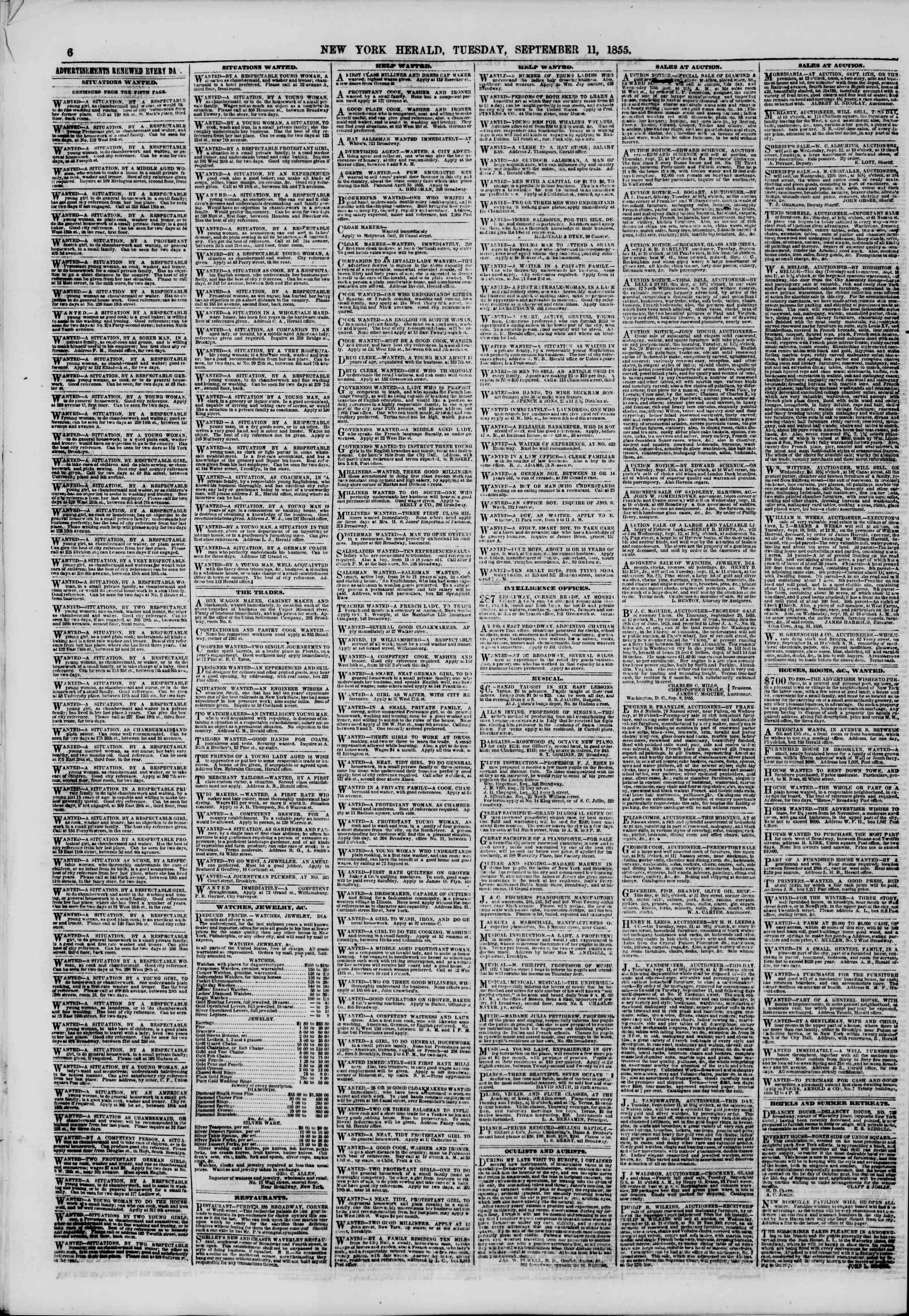 Newspaper of The New York Herald dated September 11, 1855 Page 6
