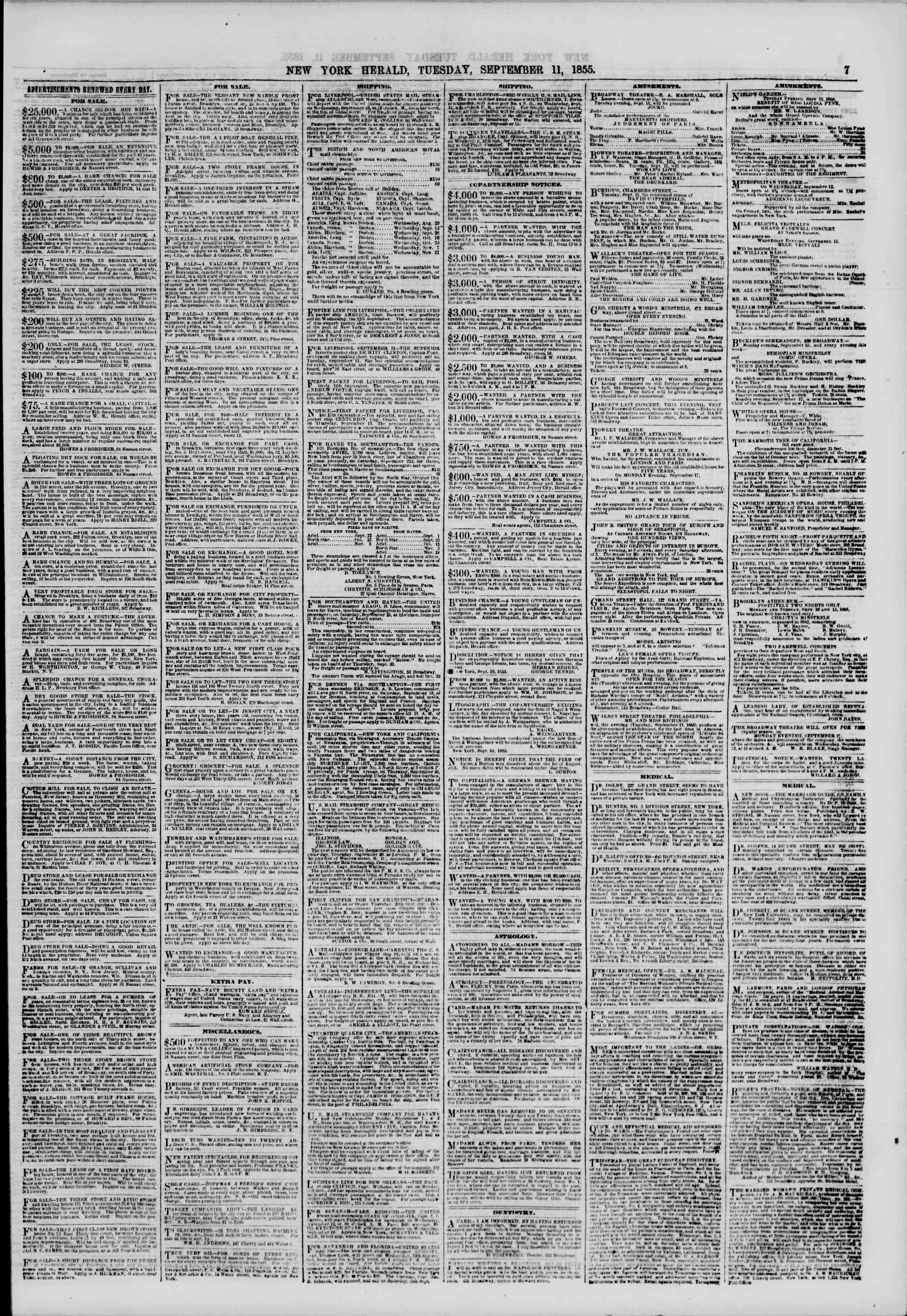 Newspaper of The New York Herald dated September 11, 1855 Page 7