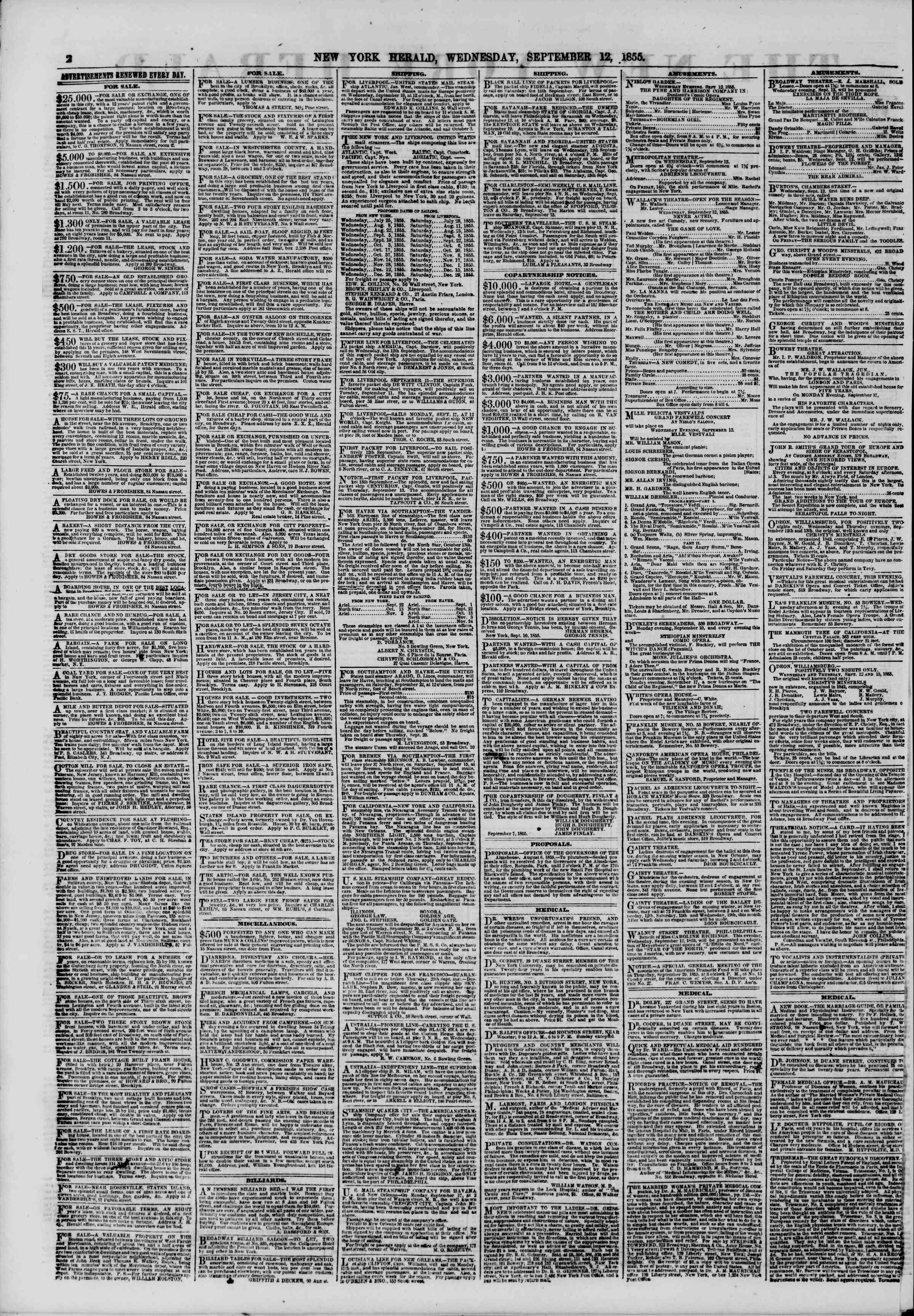 Newspaper of The New York Herald dated September 12, 1855 Page 2