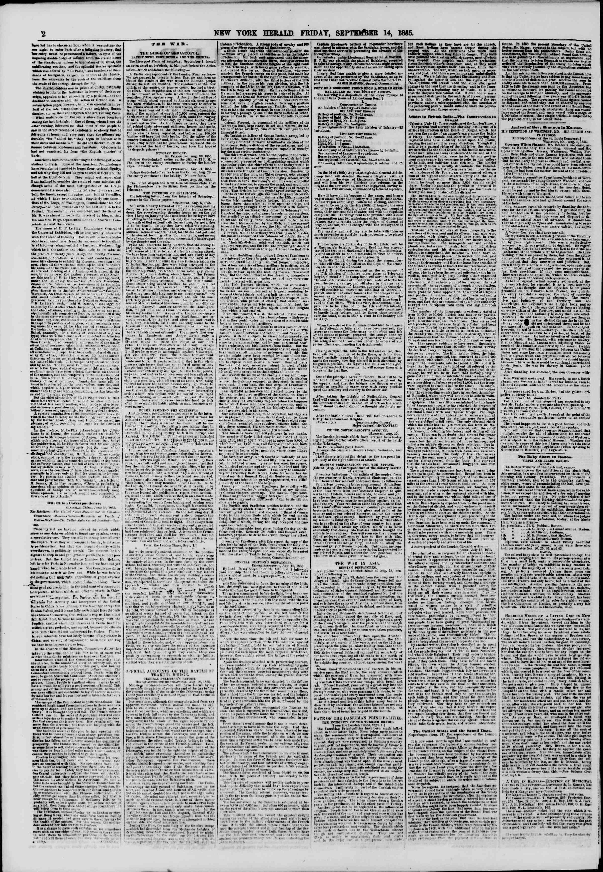 Newspaper of The New York Herald dated September 14, 1855 Page 2