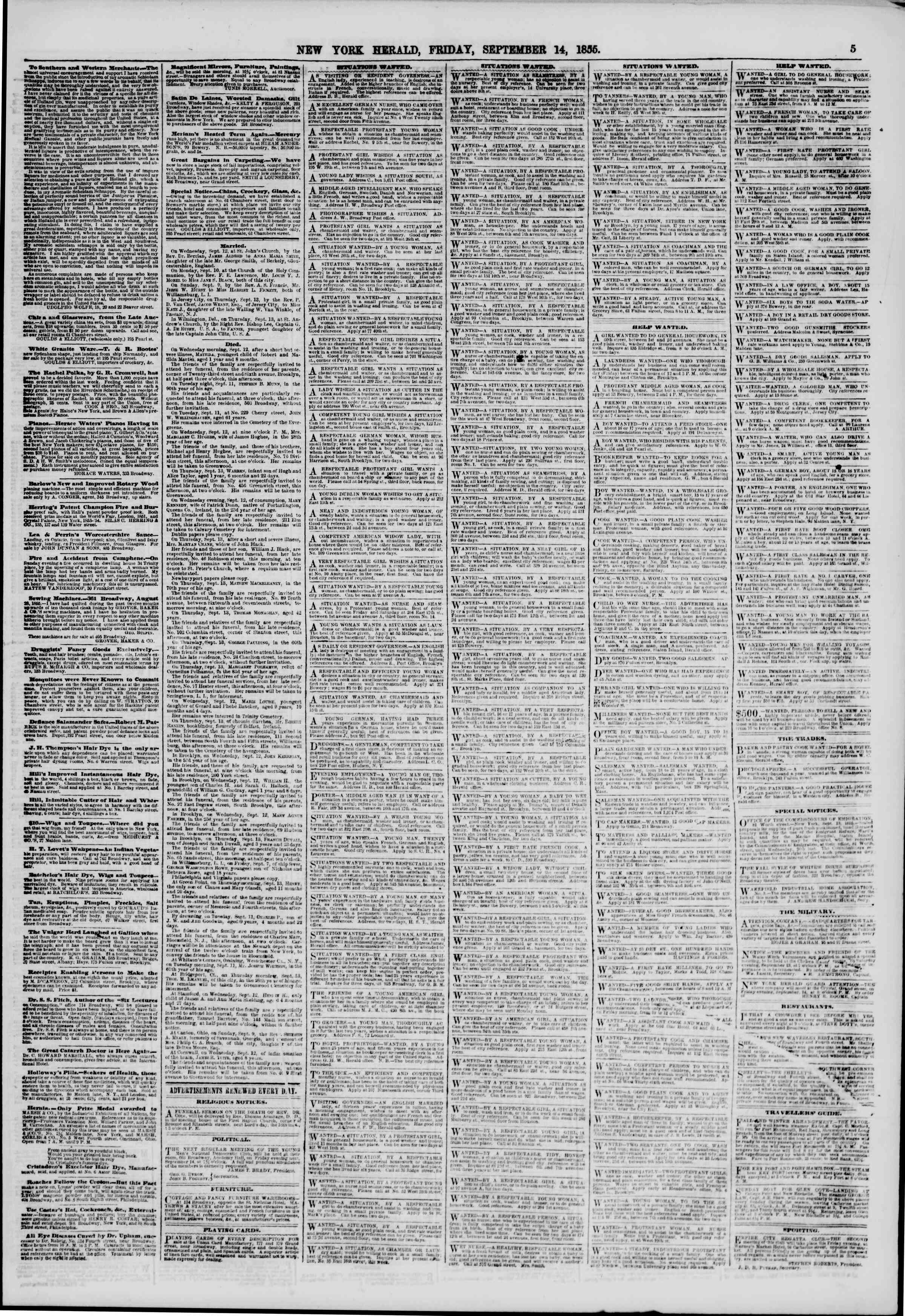 Newspaper of The New York Herald dated September 14, 1855 Page 5