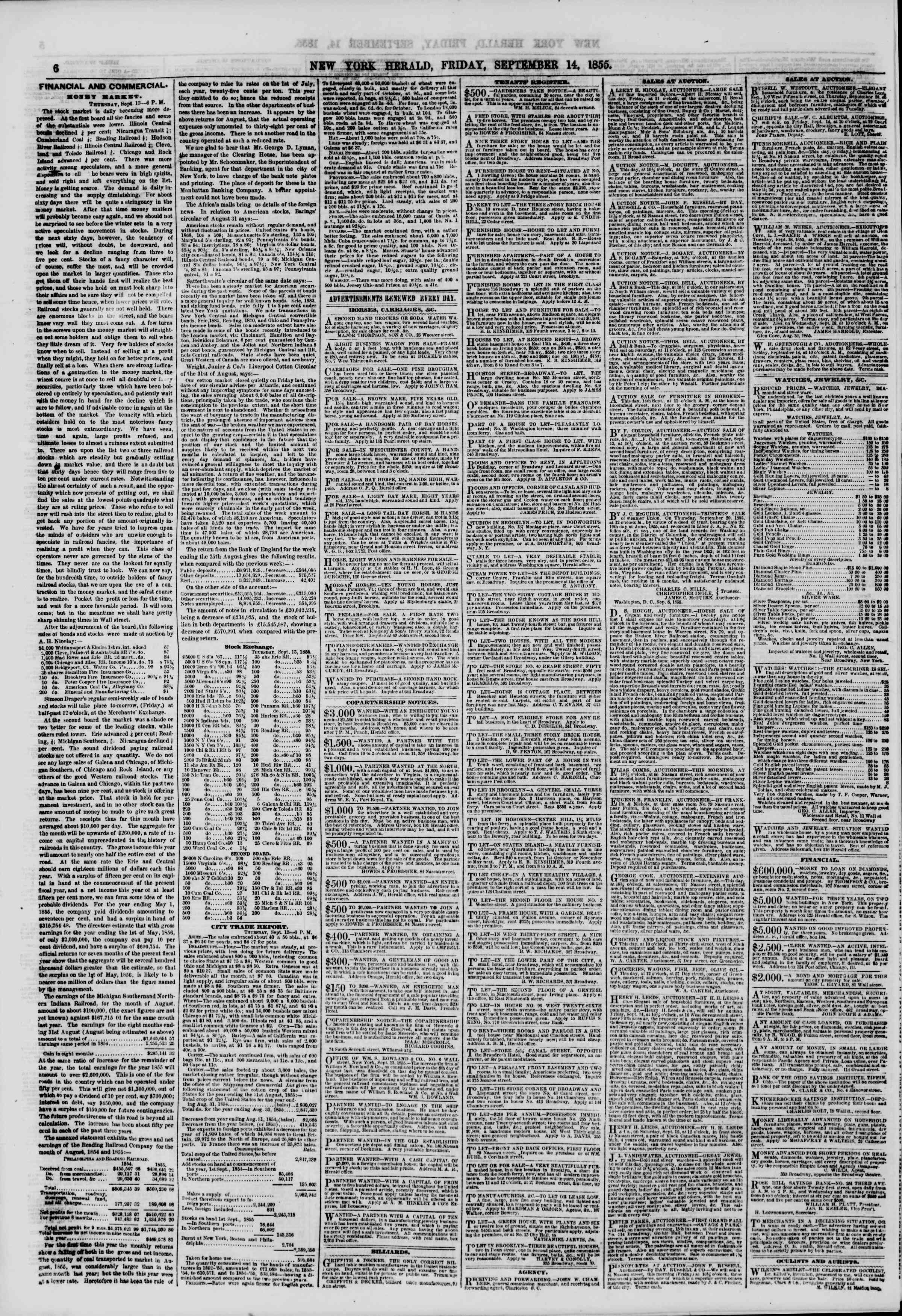 Newspaper of The New York Herald dated September 14, 1855 Page 6