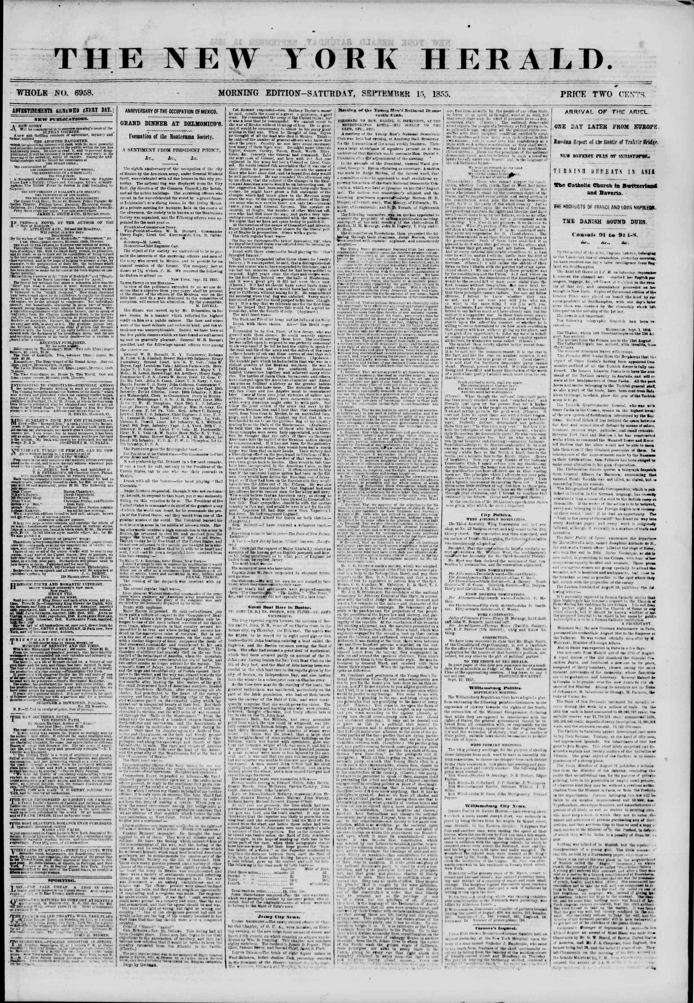Newspaper of The New York Herald dated September 15, 1855 Page 1