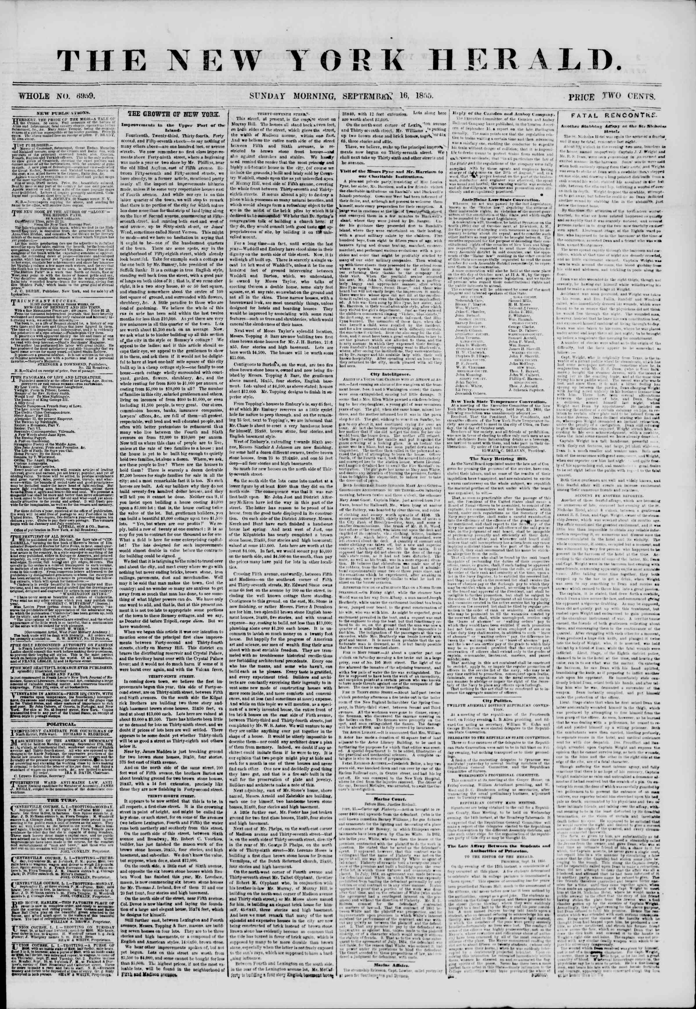 Newspaper of The New York Herald dated September 16, 1855 Page 1