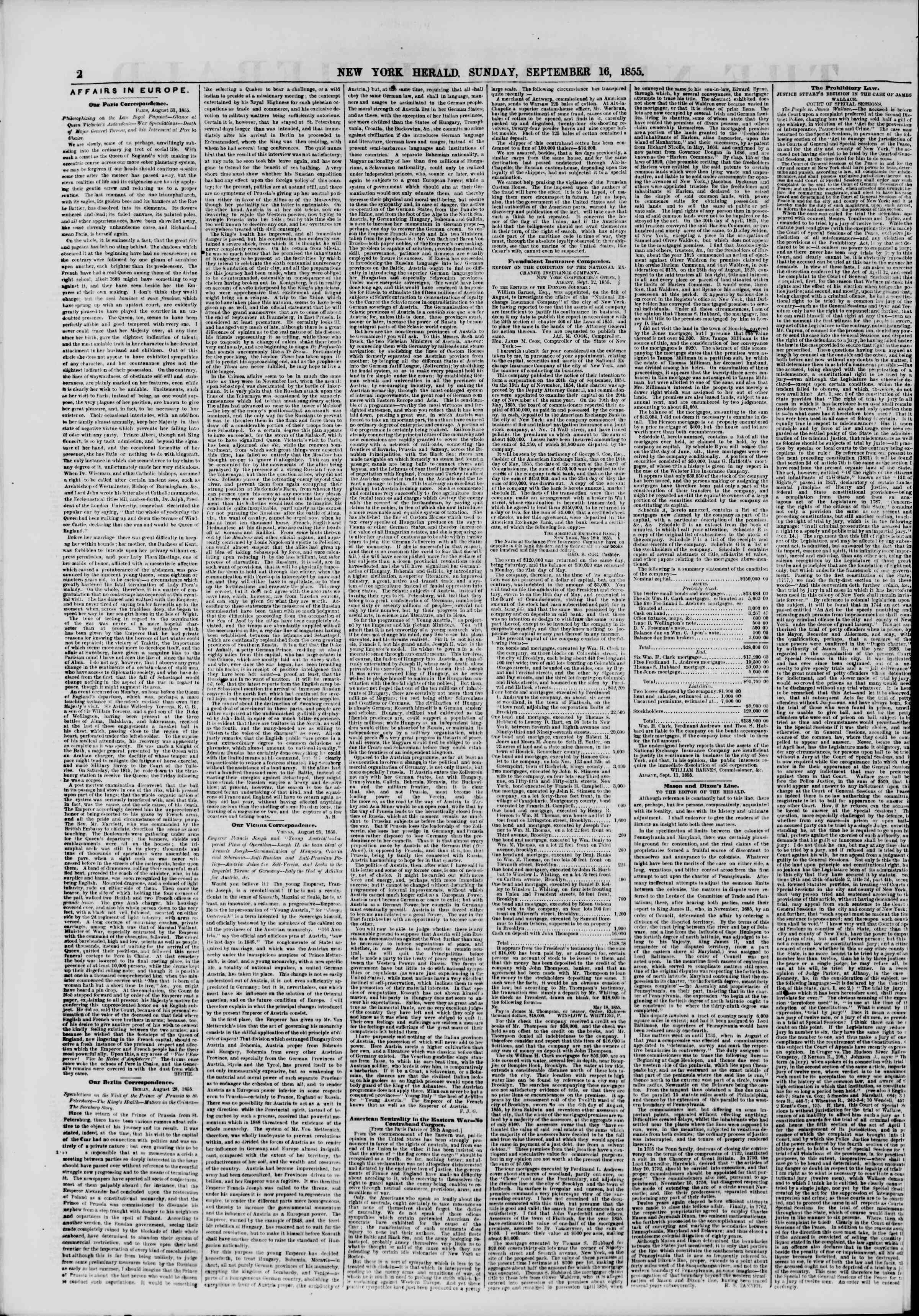 Newspaper of The New York Herald dated September 16, 1855 Page 2