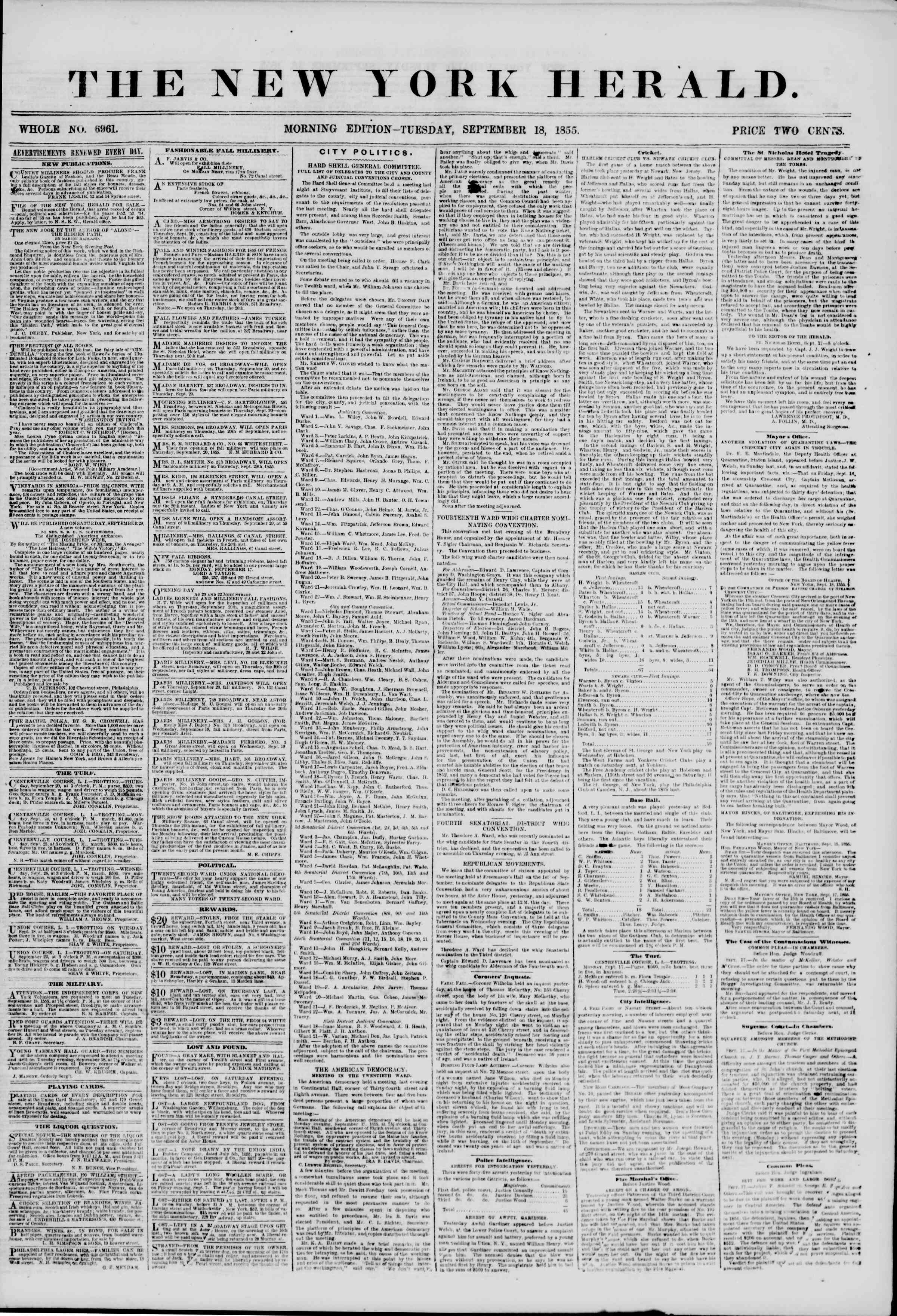 Newspaper of The New York Herald dated September 18, 1855 Page 1