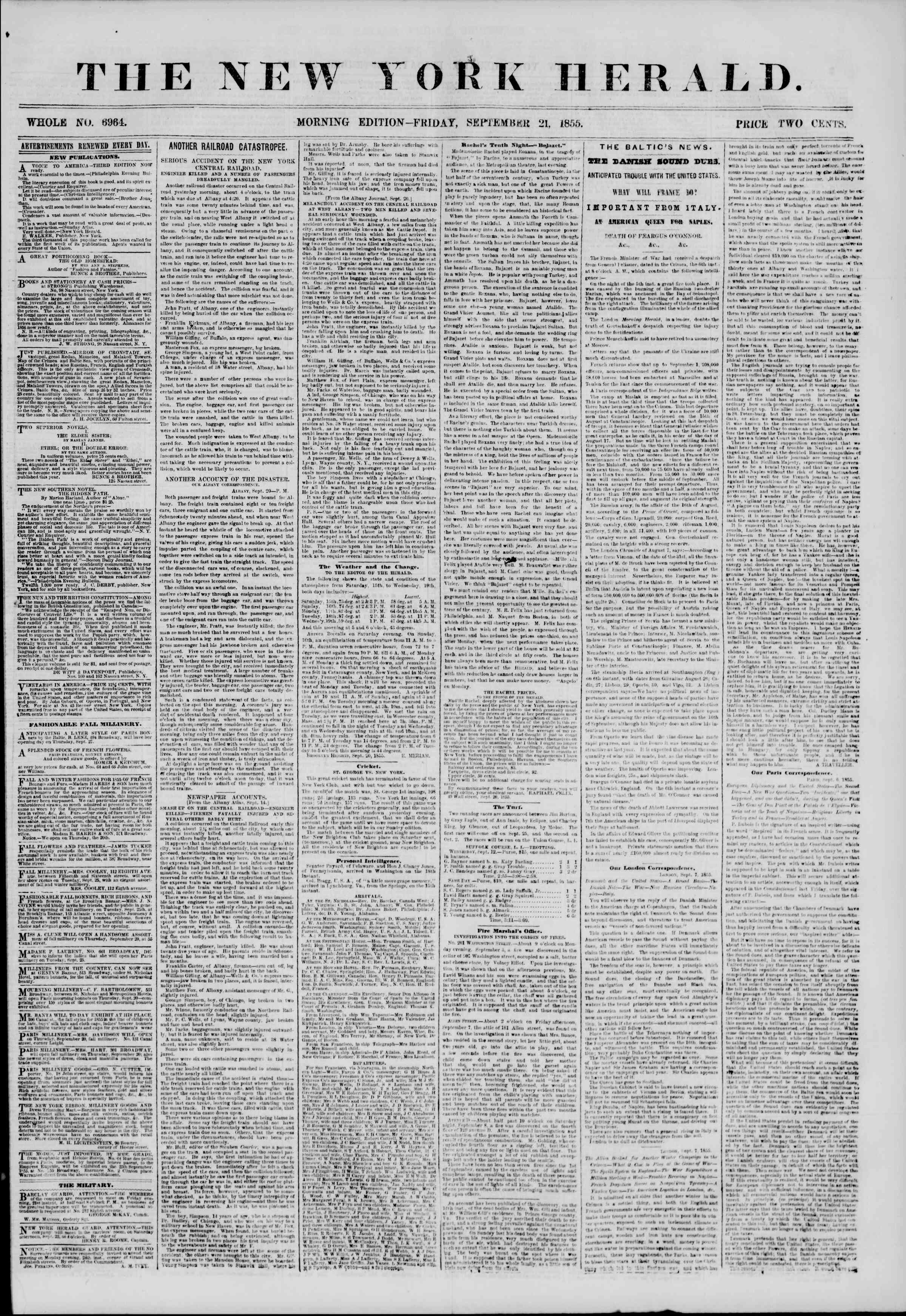 Newspaper of The New York Herald dated September 21, 1855 Page 1