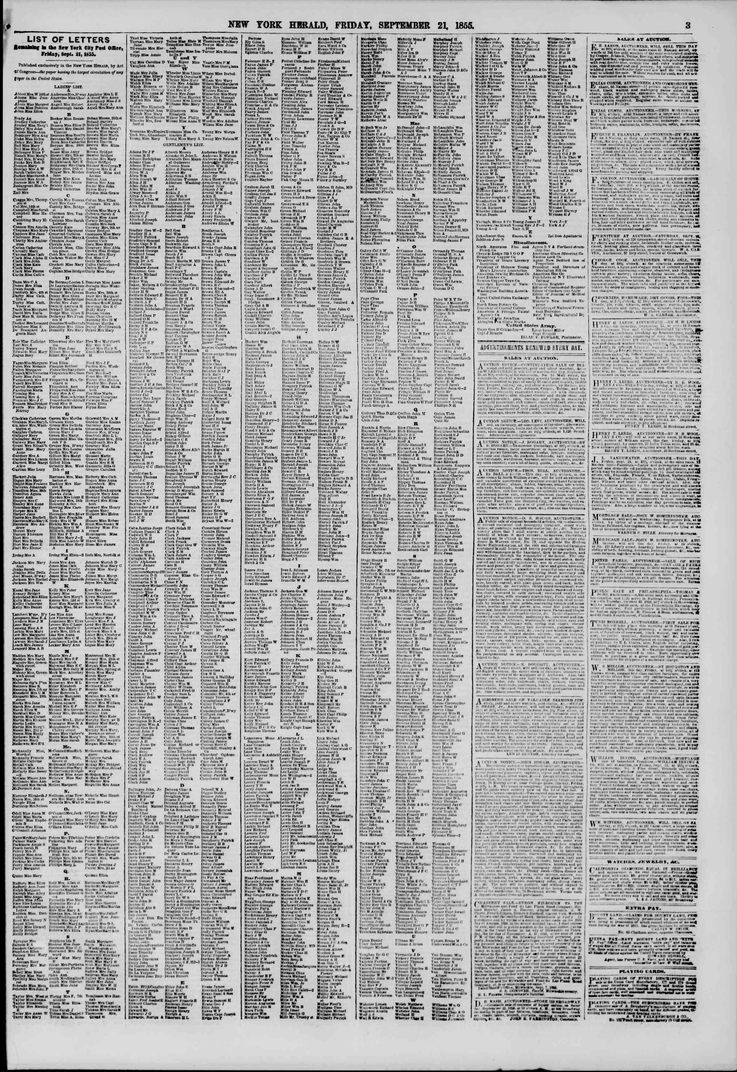 Newspaper of The New York Herald dated September 21, 1855 Page 3