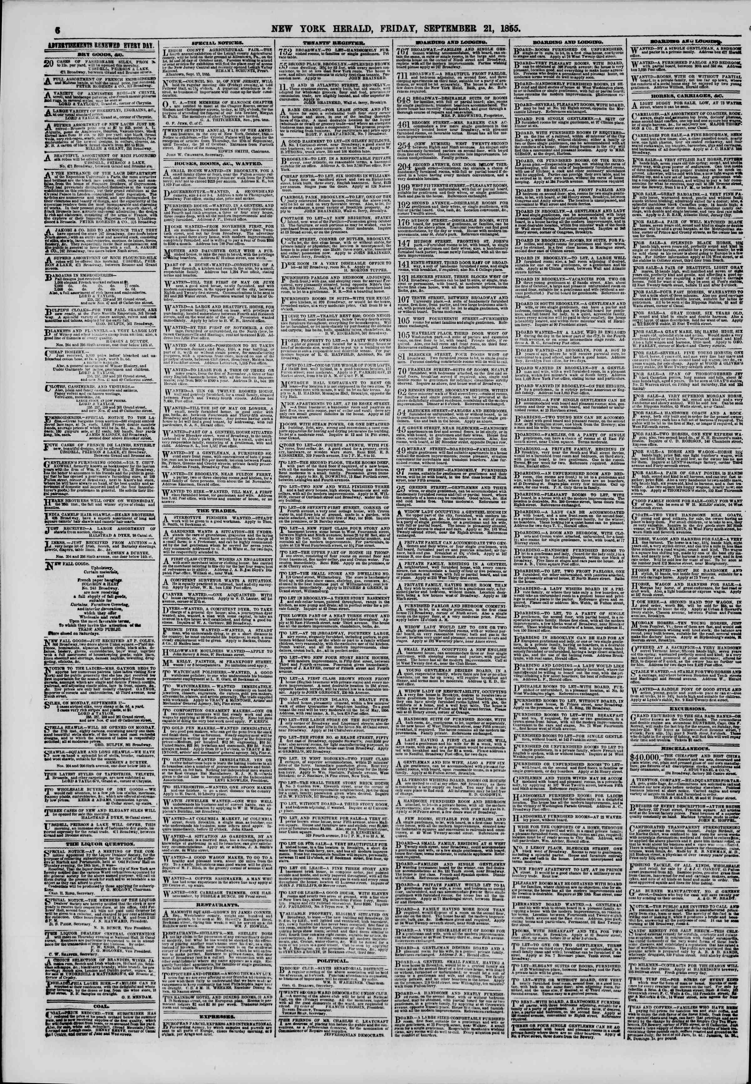 Newspaper of The New York Herald dated September 21, 1855 Page 6