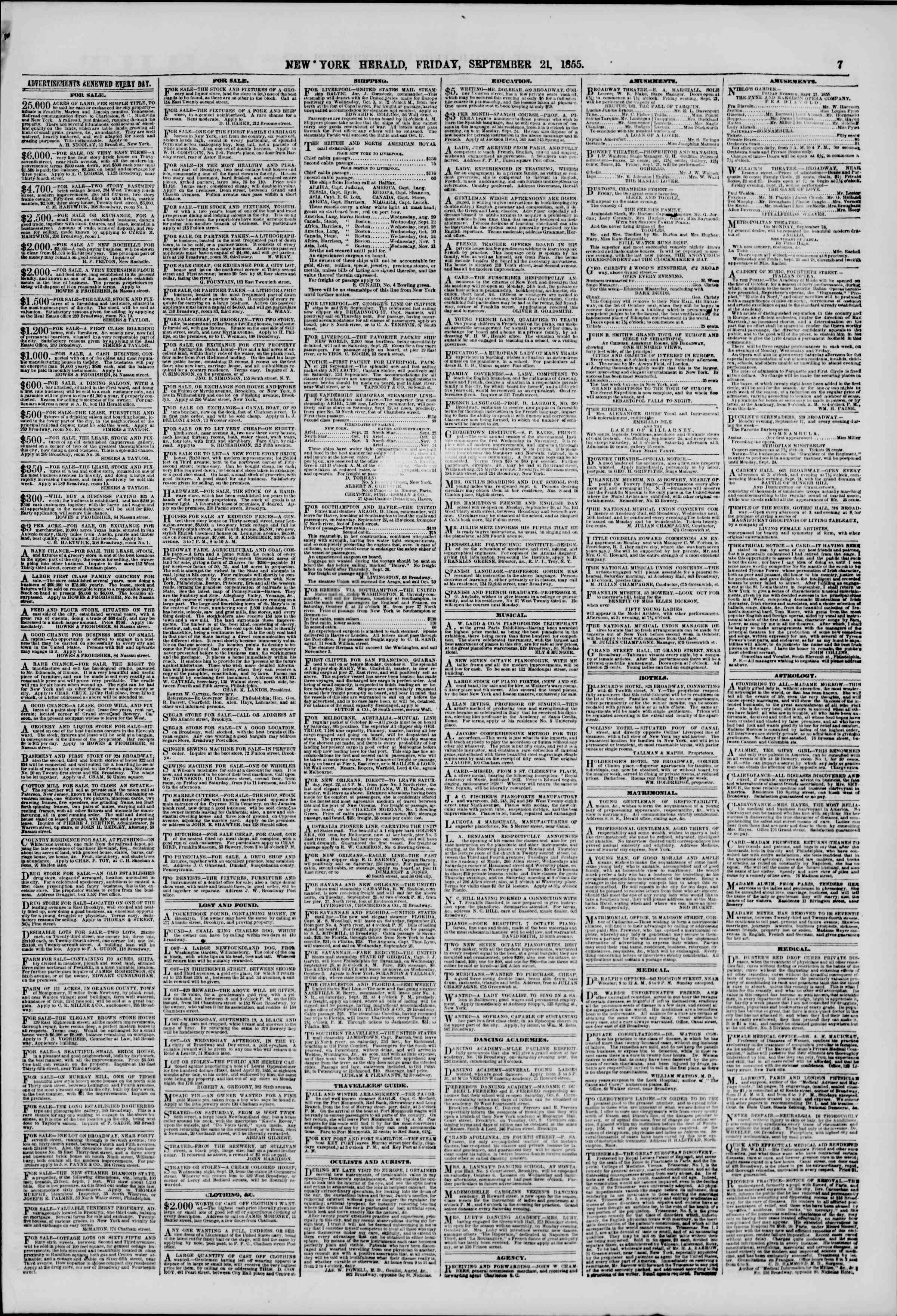 Newspaper of The New York Herald dated September 21, 1855 Page 7