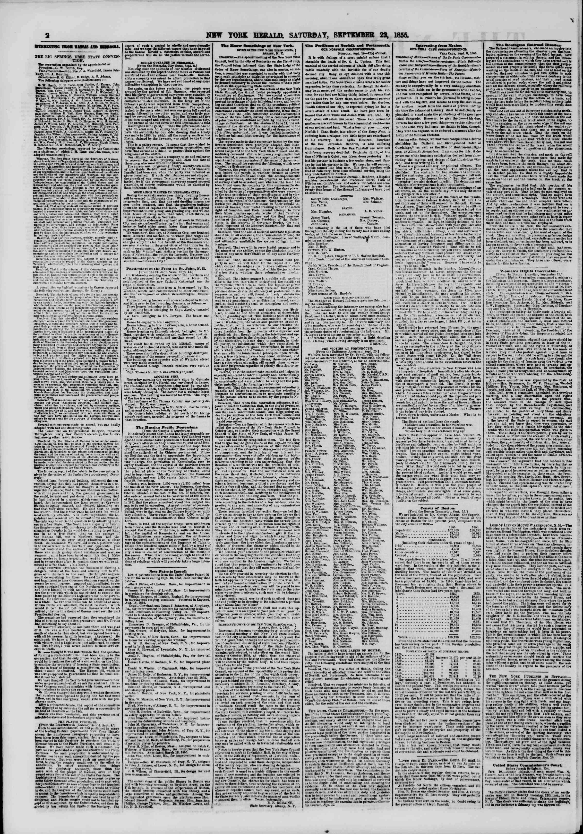 Newspaper of The New York Herald dated September 22, 1855 Page 2