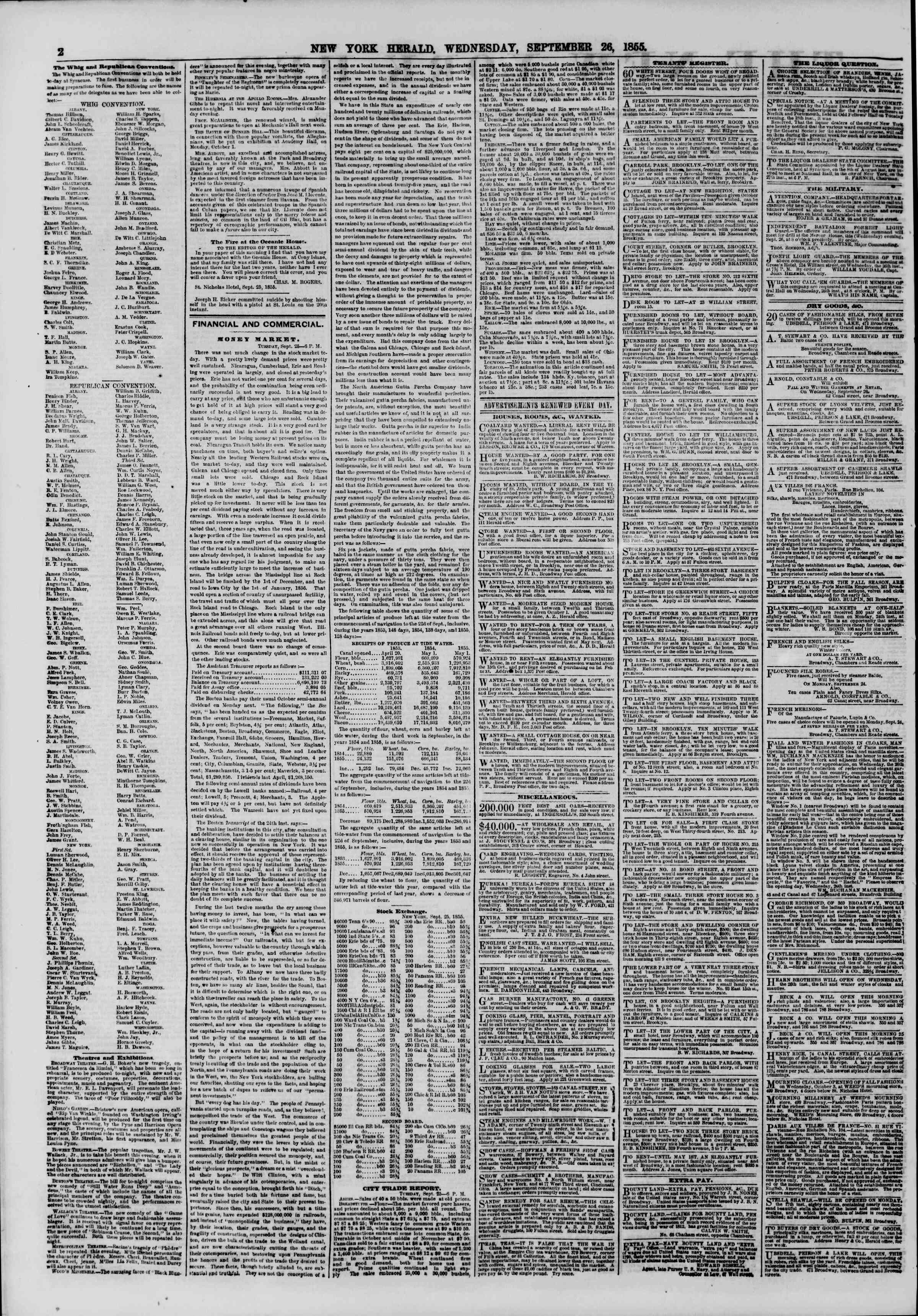 Newspaper of The New York Herald dated September 26, 1855 Page 2
