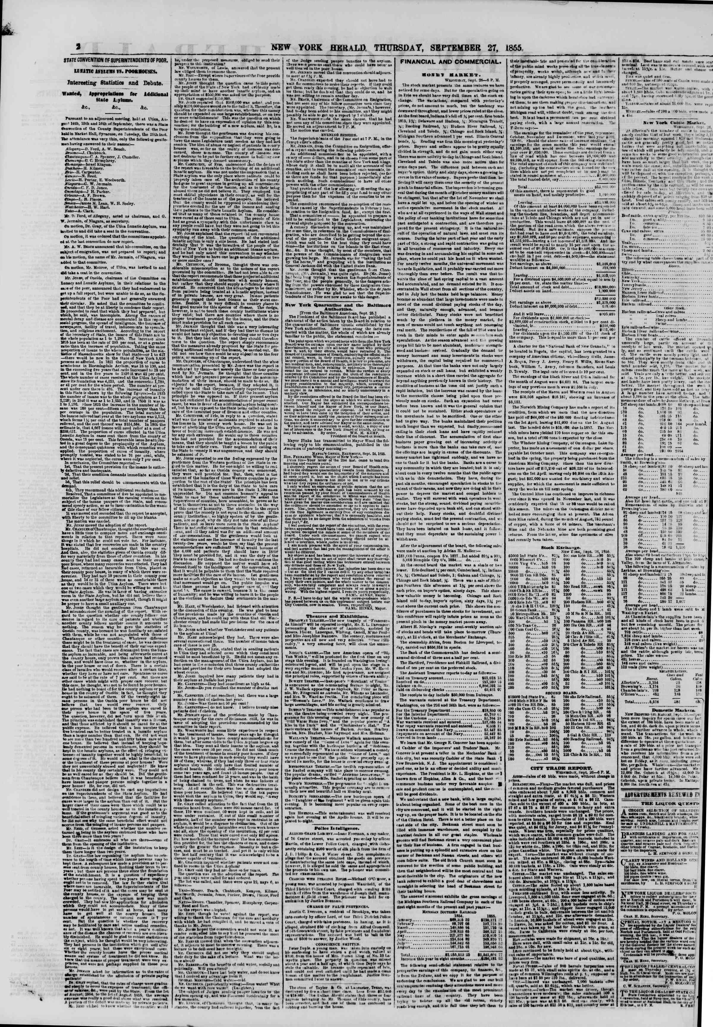 Newspaper of The New York Herald dated September 27, 1855 Page 2