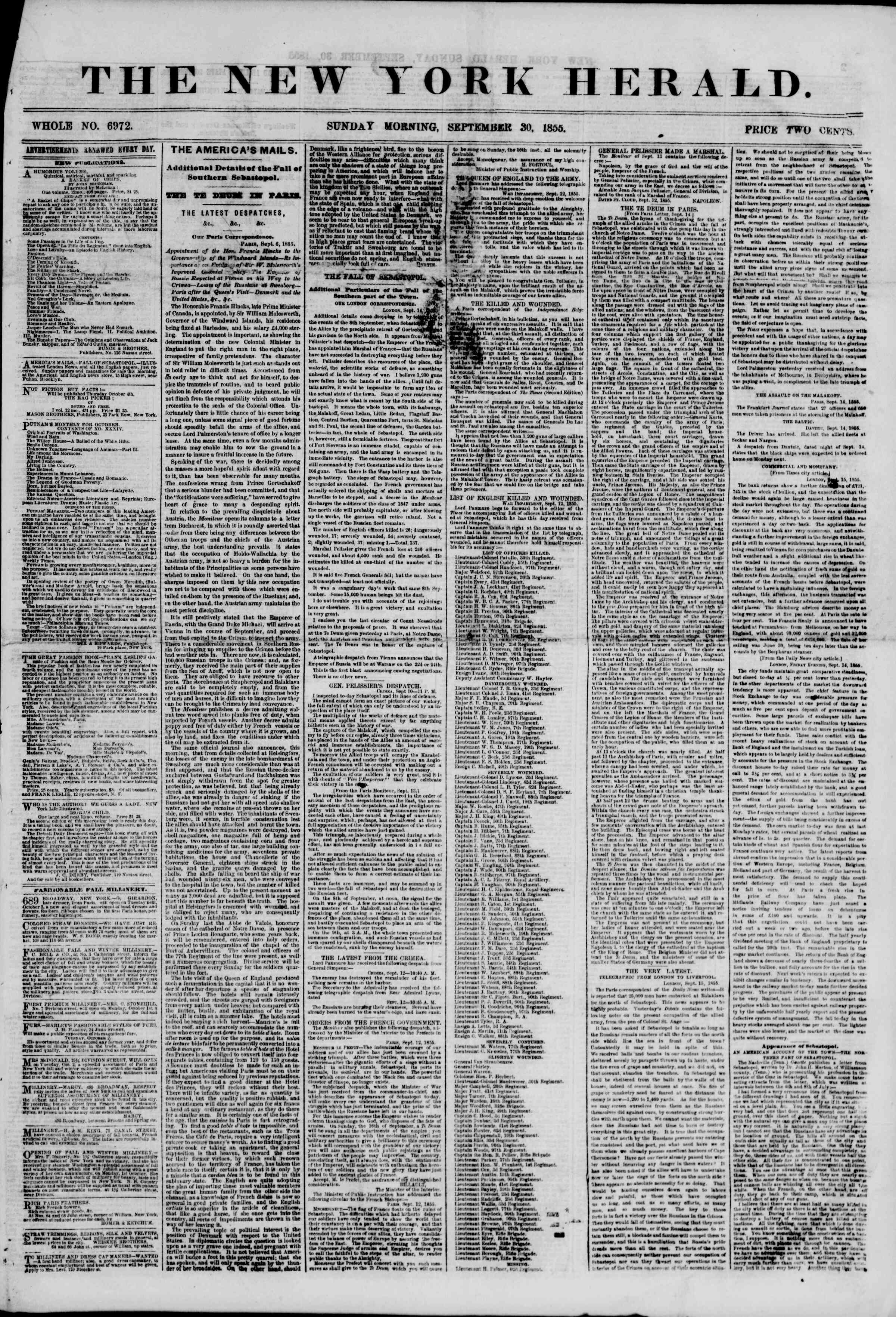 Newspaper of The New York Herald dated September 30, 1855 Page 1