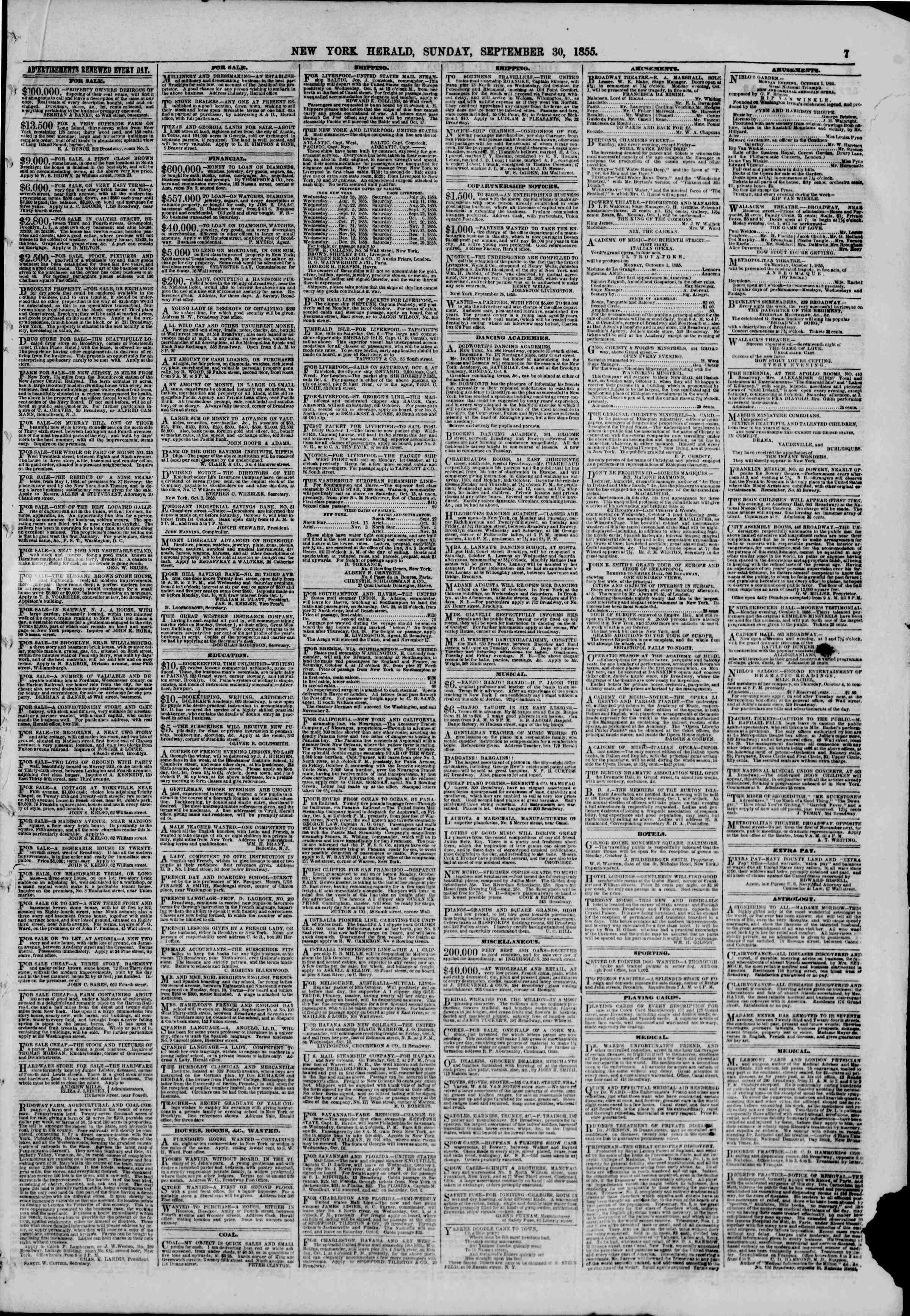 Newspaper of The New York Herald dated September 30, 1855 Page 7