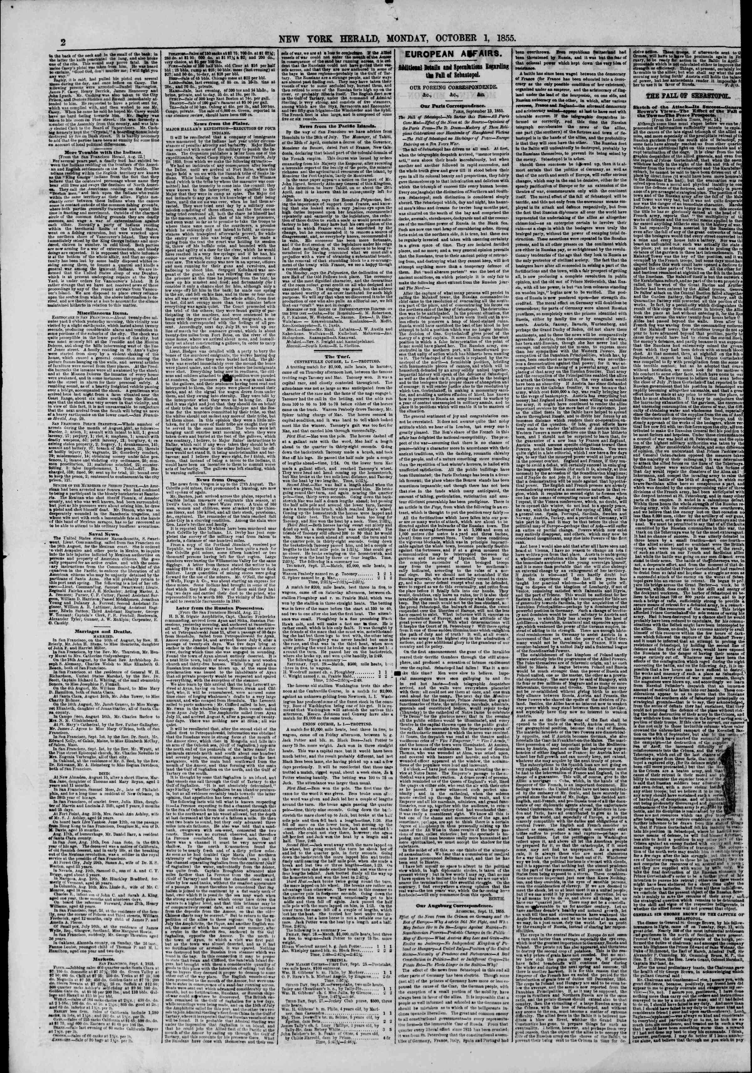 Newspaper of The New York Herald dated October 1, 1855 Page 2