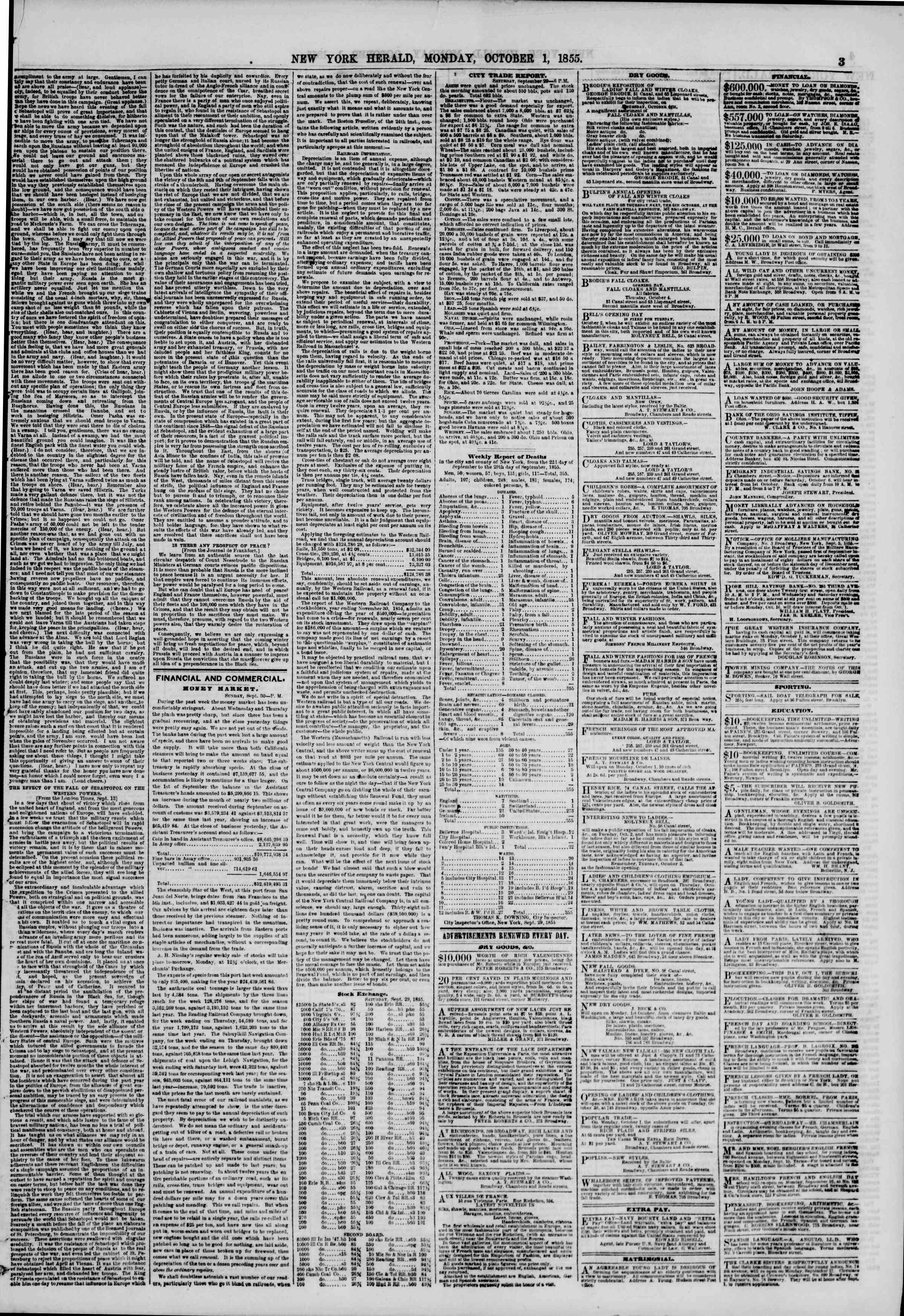 Newspaper of The New York Herald dated October 1, 1855 Page 3