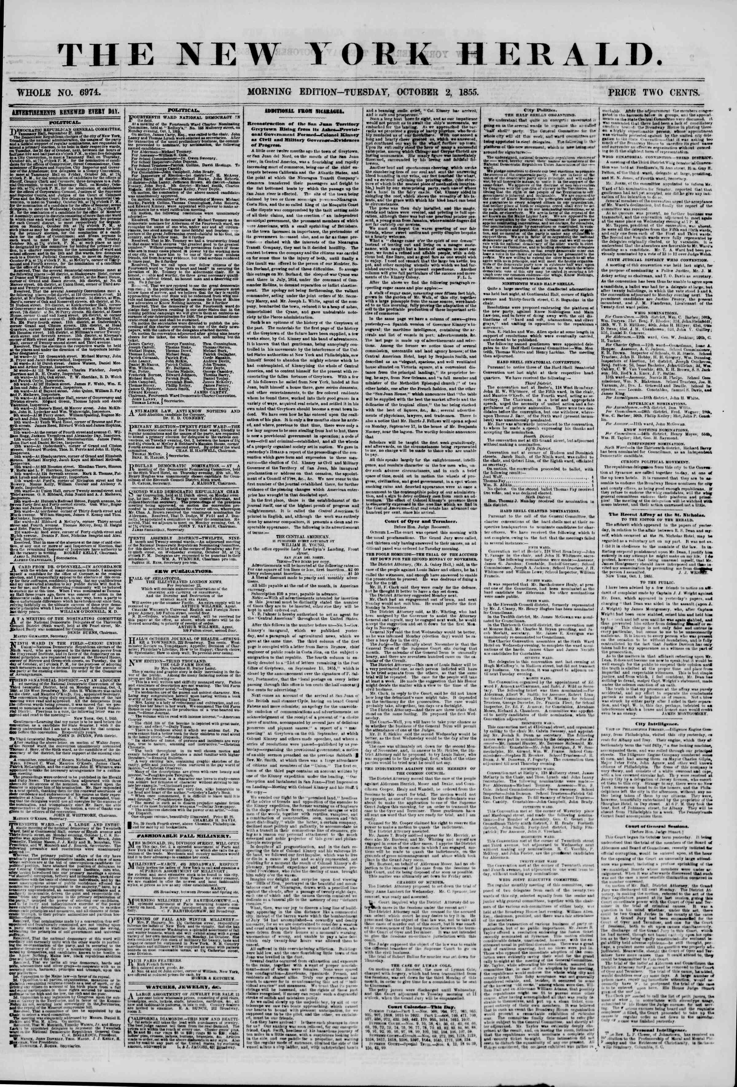 Newspaper of The New York Herald dated October 2, 1855 Page 1