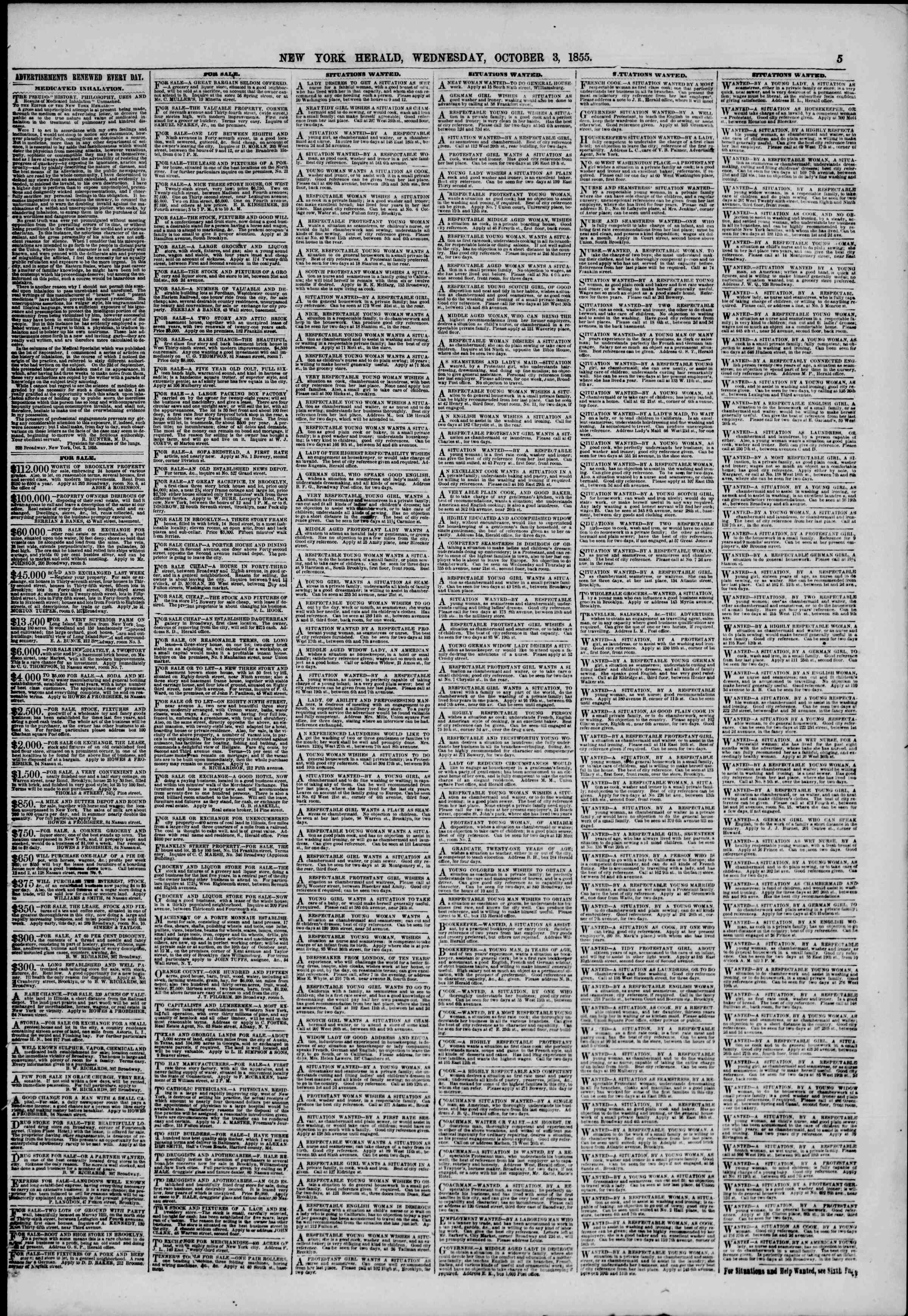 Newspaper of The New York Herald dated October 3, 1855 Page 5