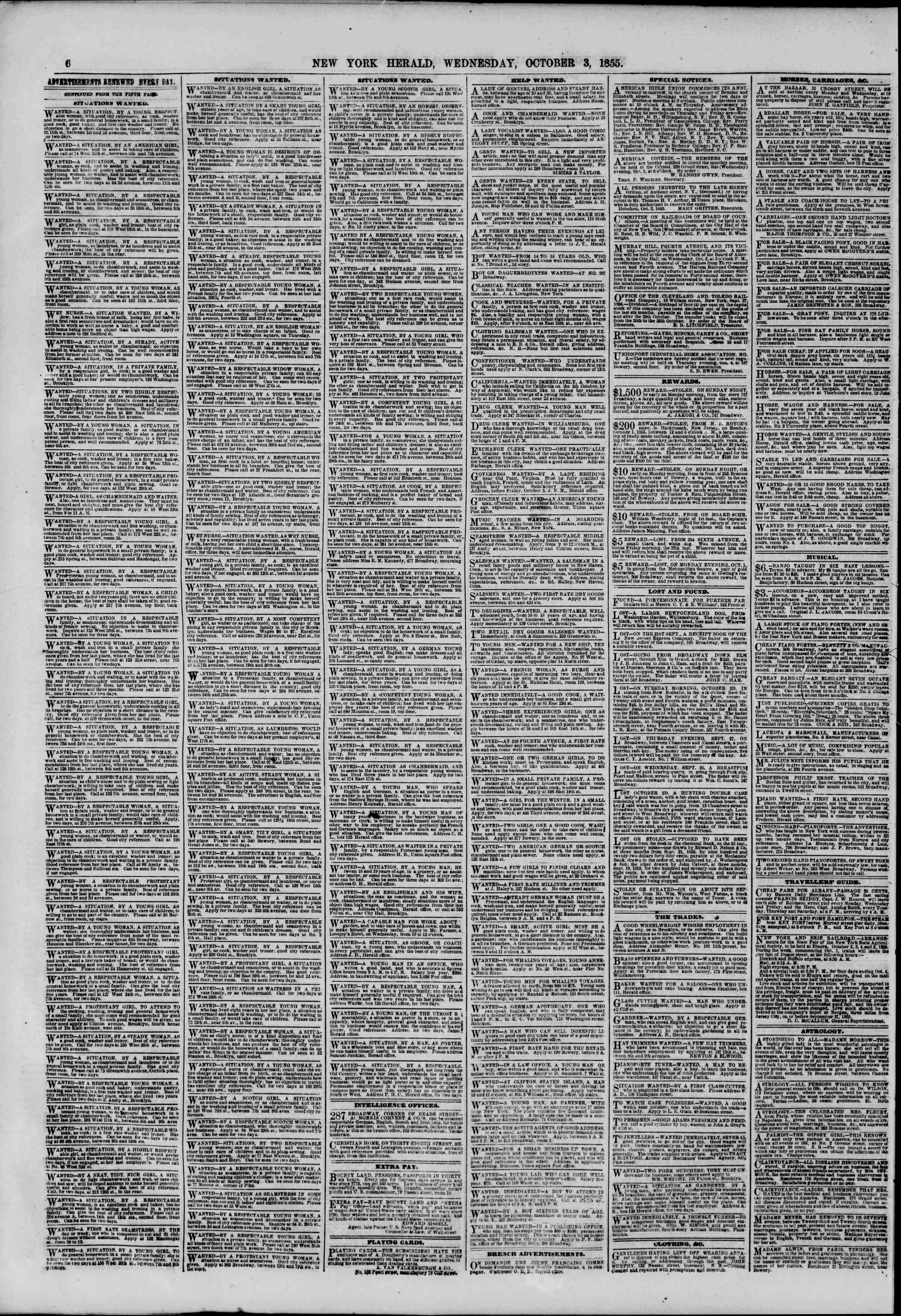 Newspaper of The New York Herald dated October 3, 1855 Page 6