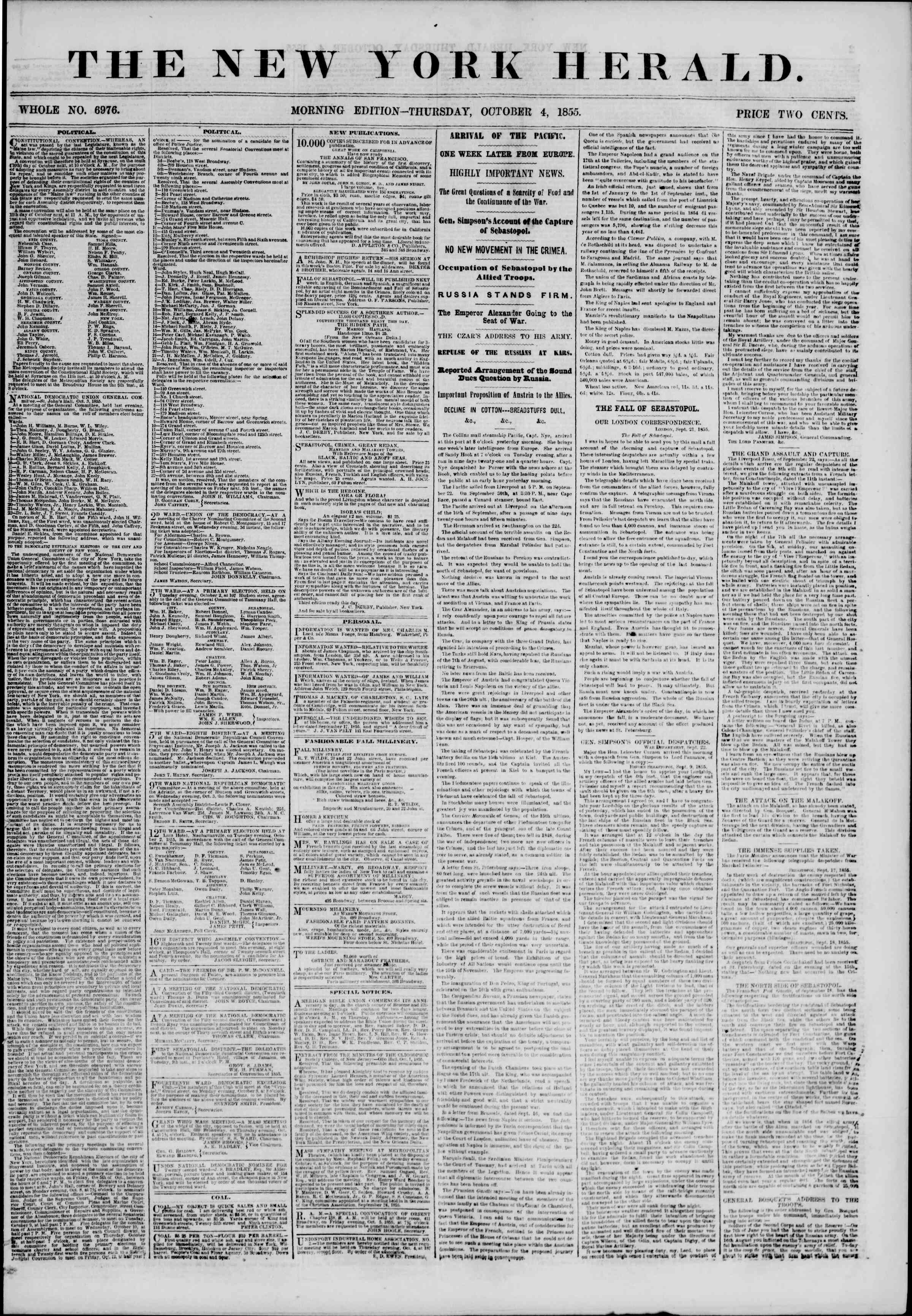 Newspaper of The New York Herald dated October 4, 1855 Page 1
