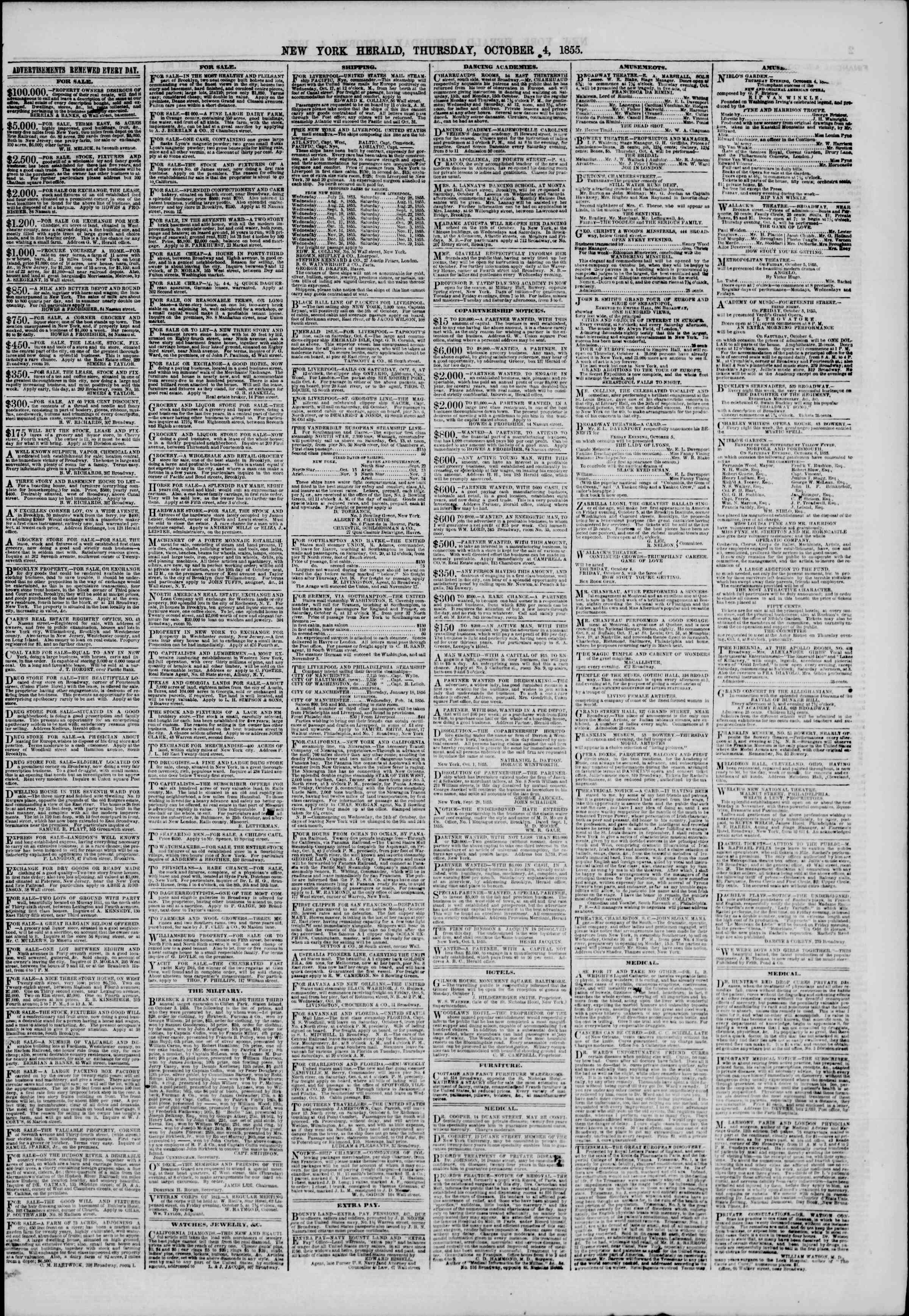 Newspaper of The New York Herald dated October 4, 1855 Page 7