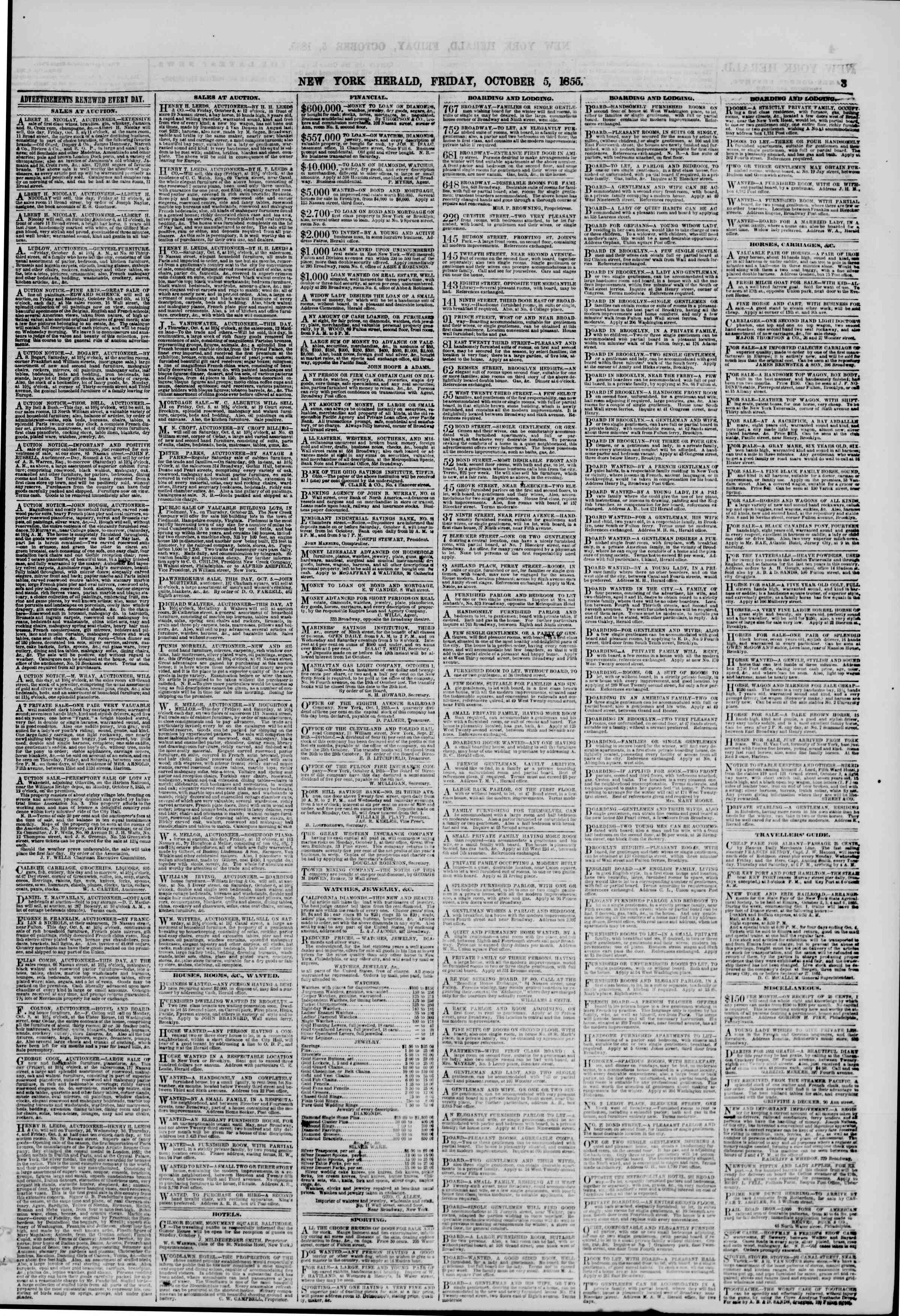 Newspaper of The New York Herald dated October 5, 1855 Page 3