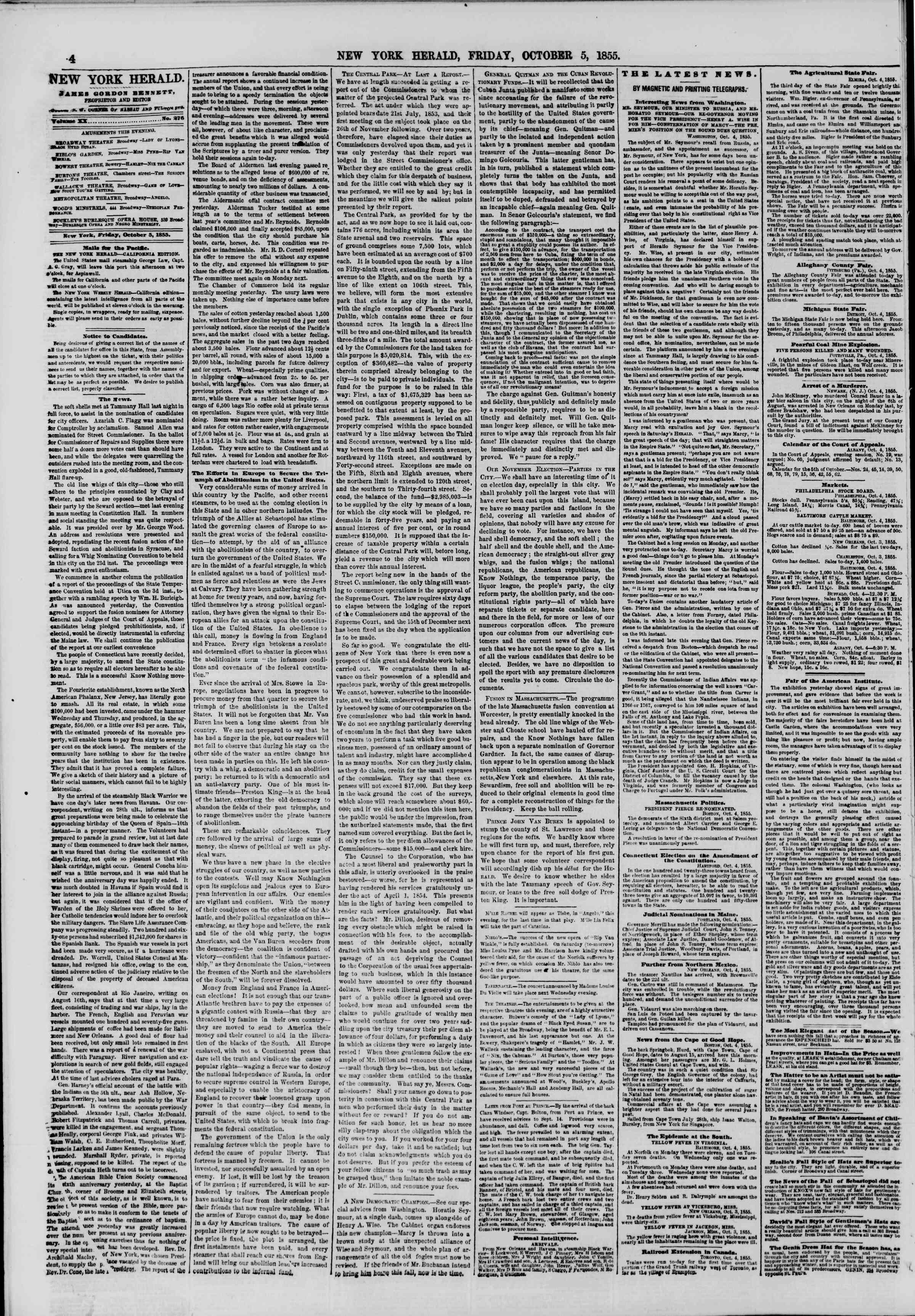 Newspaper of The New York Herald dated October 5, 1855 Page 4