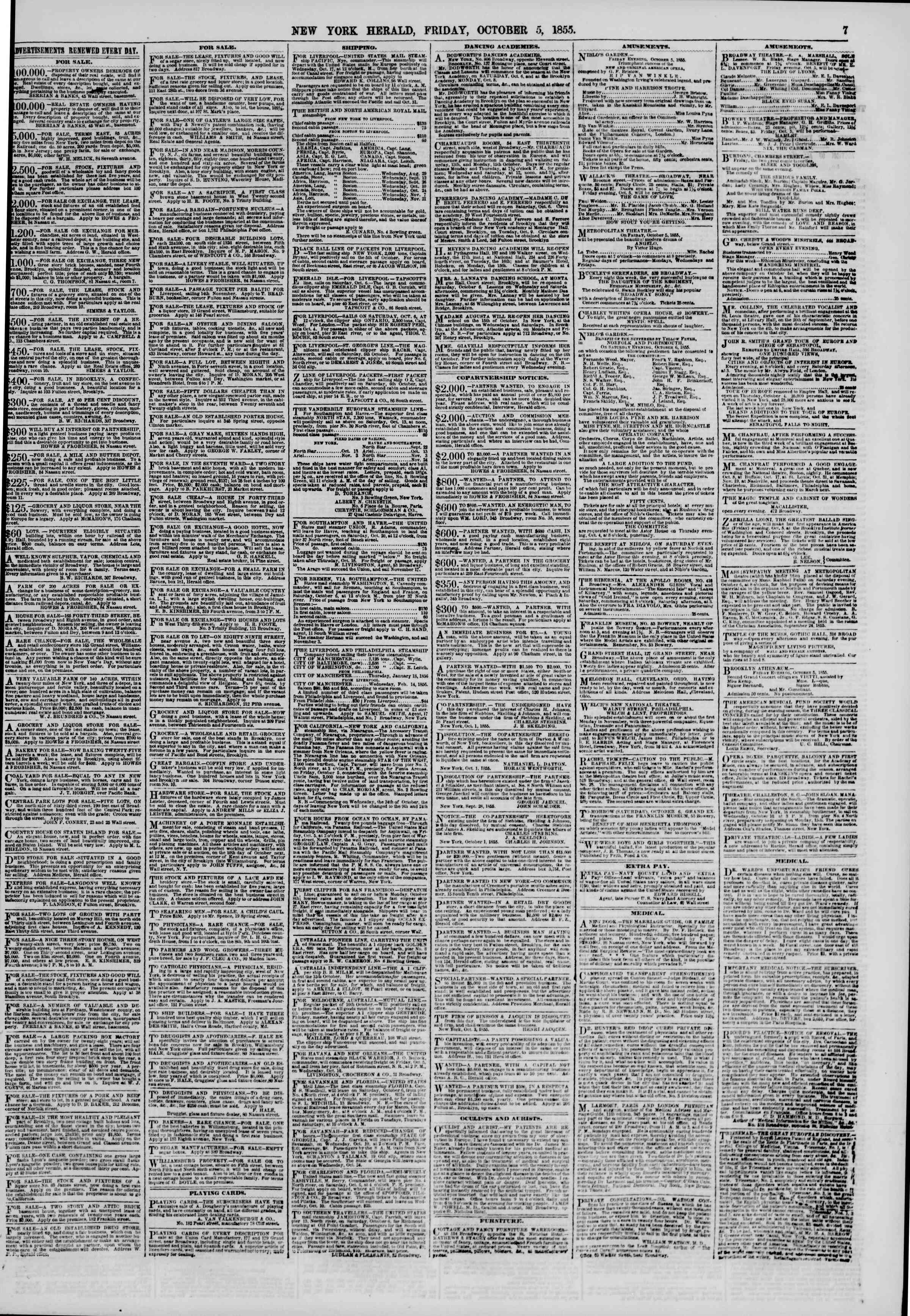 Newspaper of The New York Herald dated October 5, 1855 Page 7