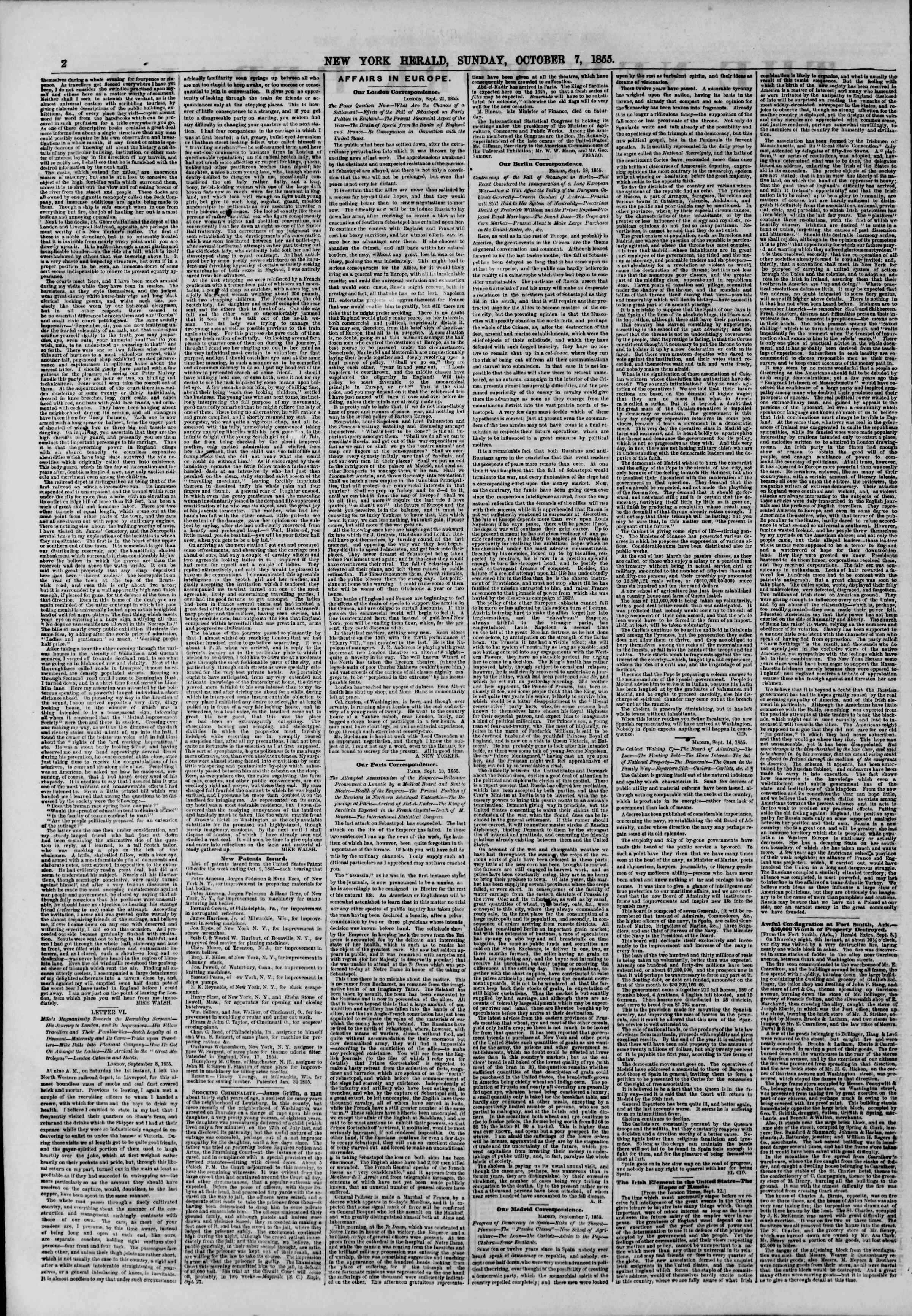 Newspaper of The New York Herald dated October 7, 1855 Page 2
