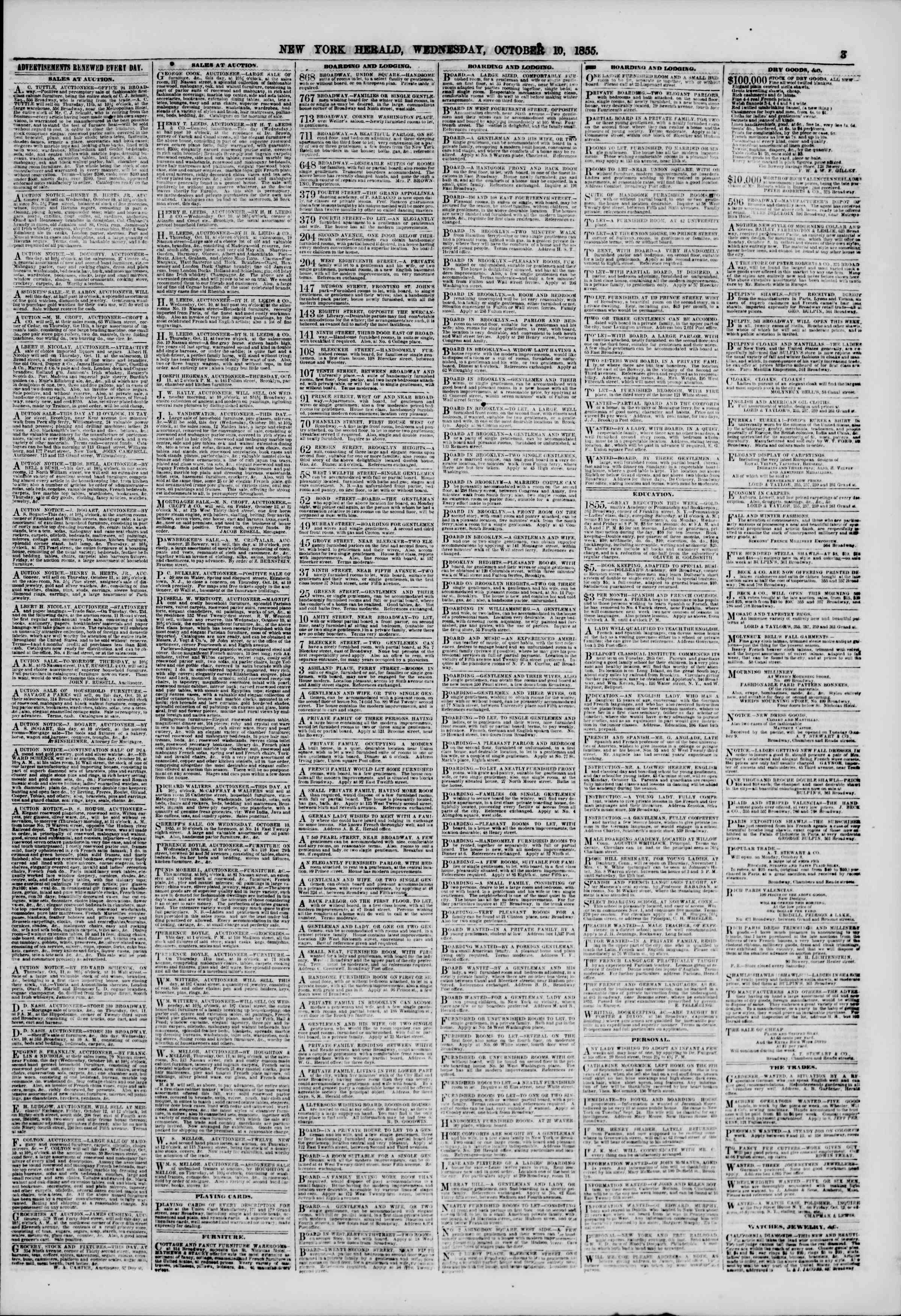 Newspaper of The New York Herald dated October 10, 1855 Page 3