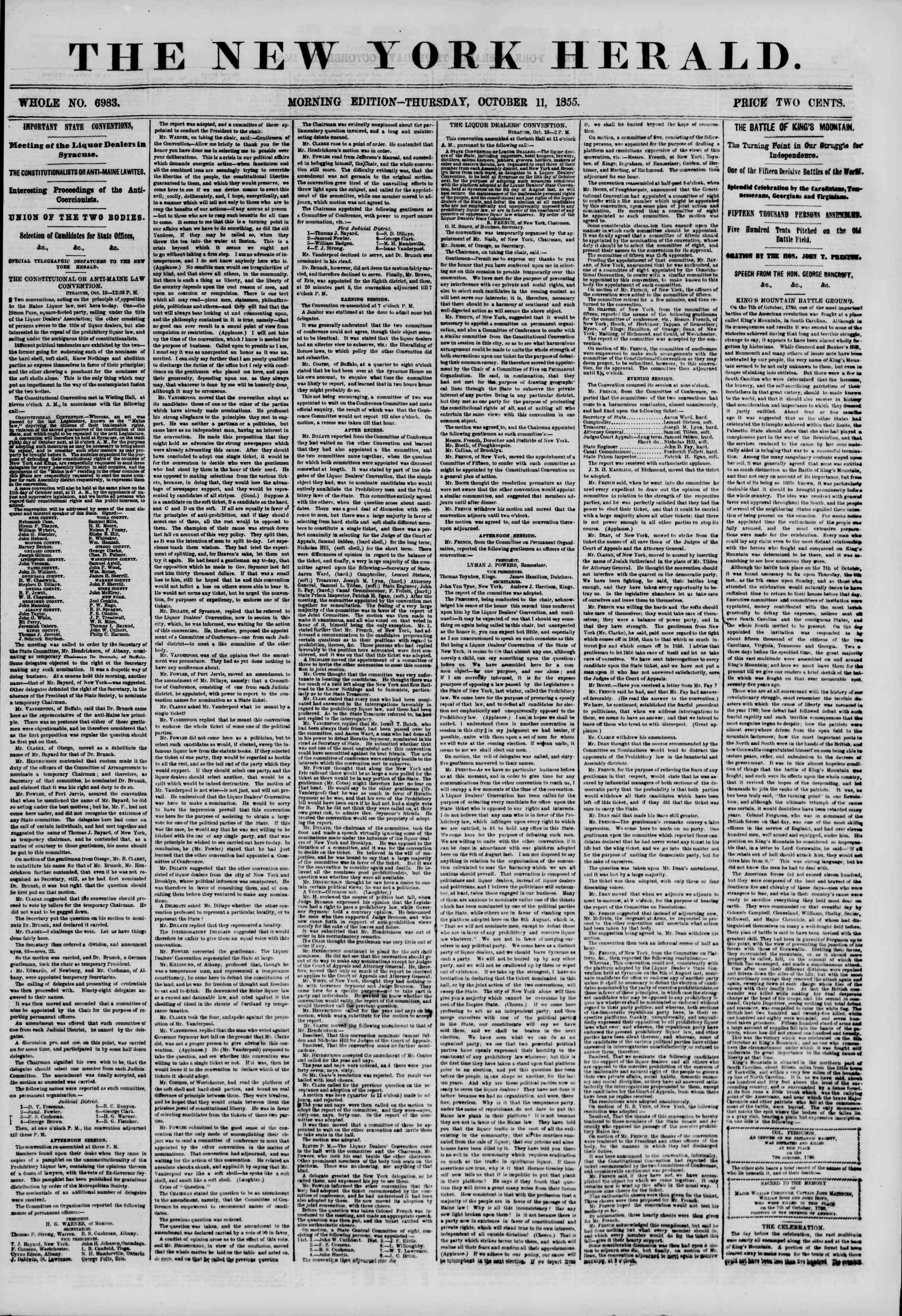 Newspaper of The New York Herald dated October 11, 1855 Page 1