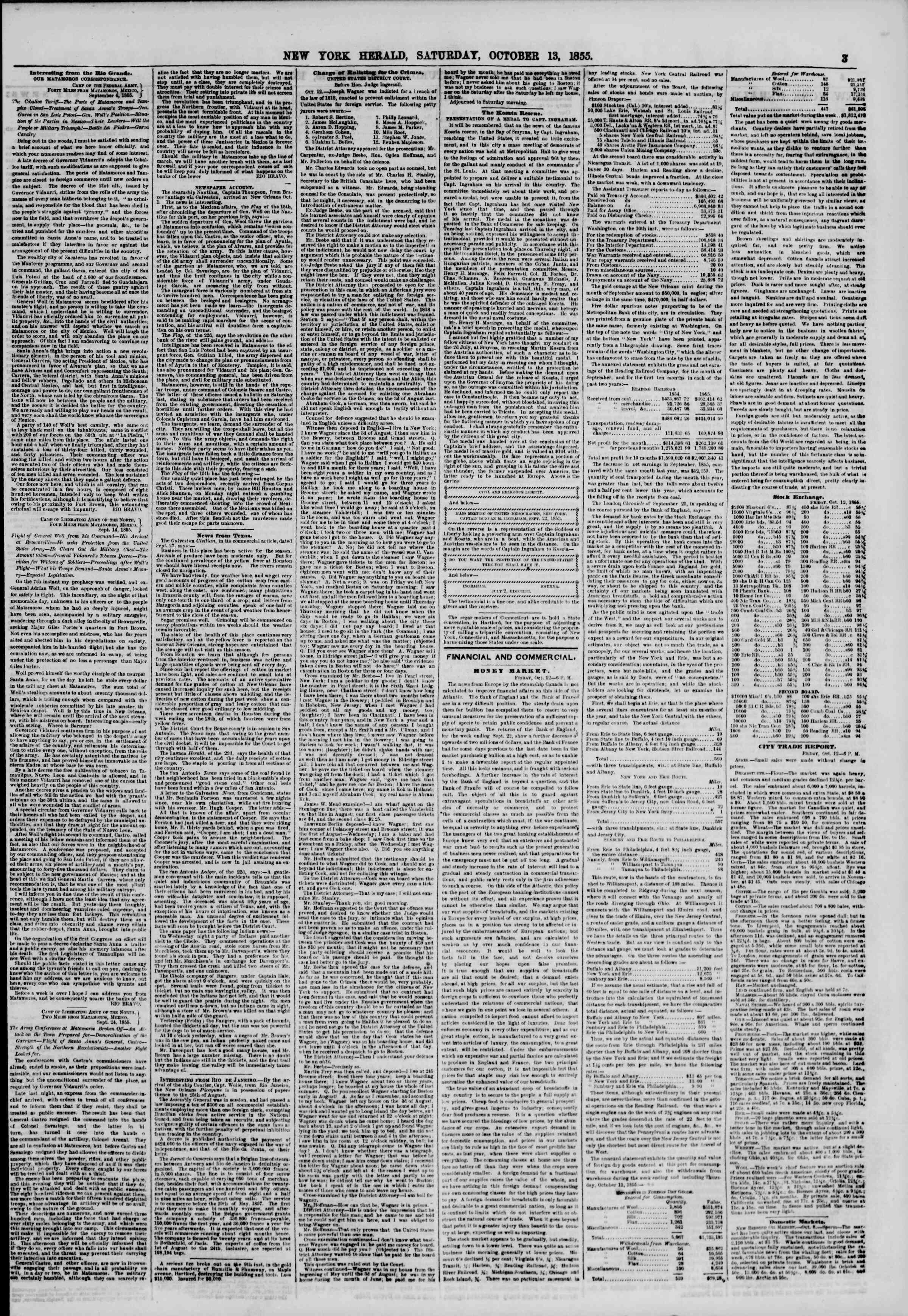 Newspaper of The New York Herald dated October 13, 1855 Page 3