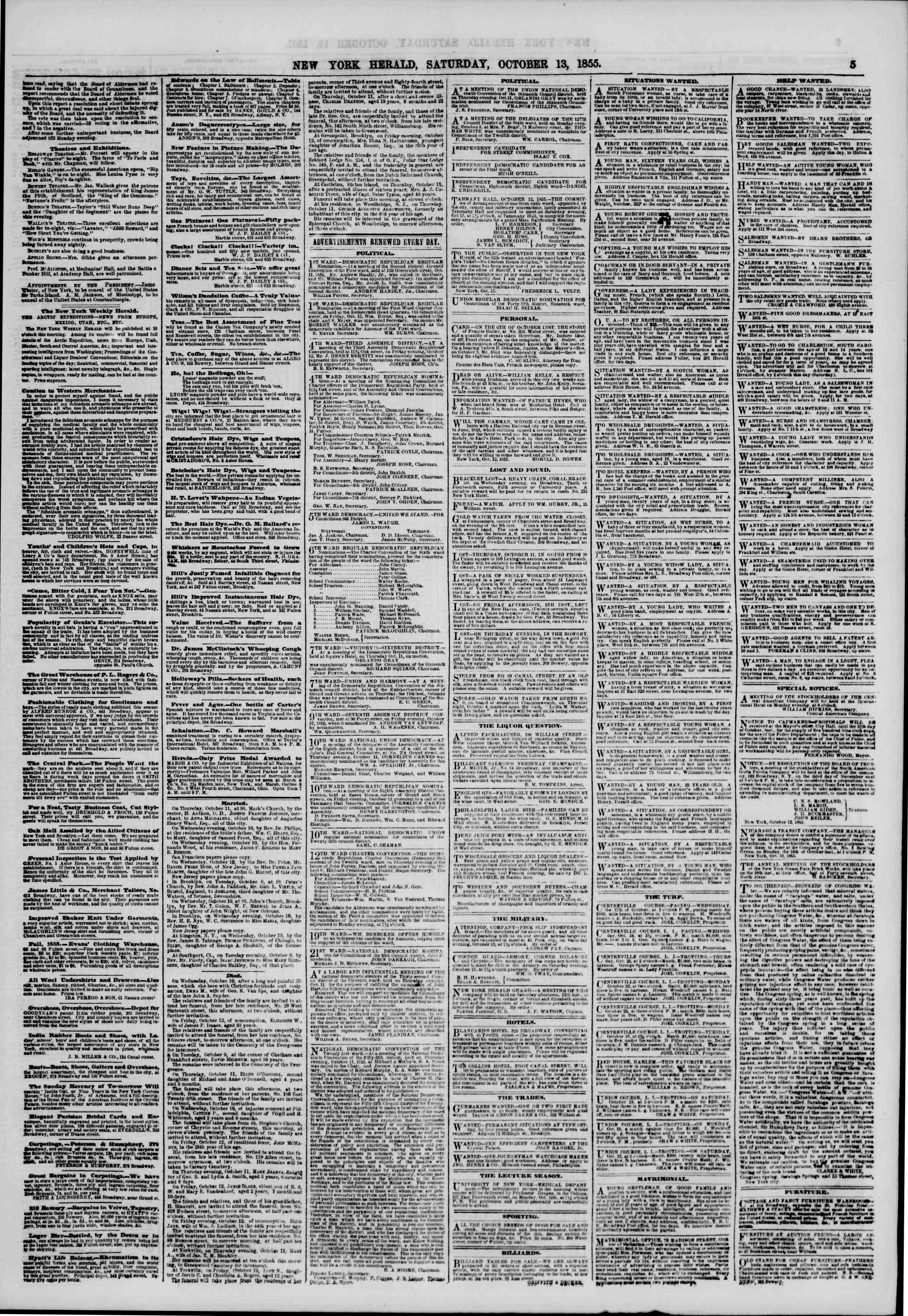 Newspaper of The New York Herald dated October 13, 1855 Page 5