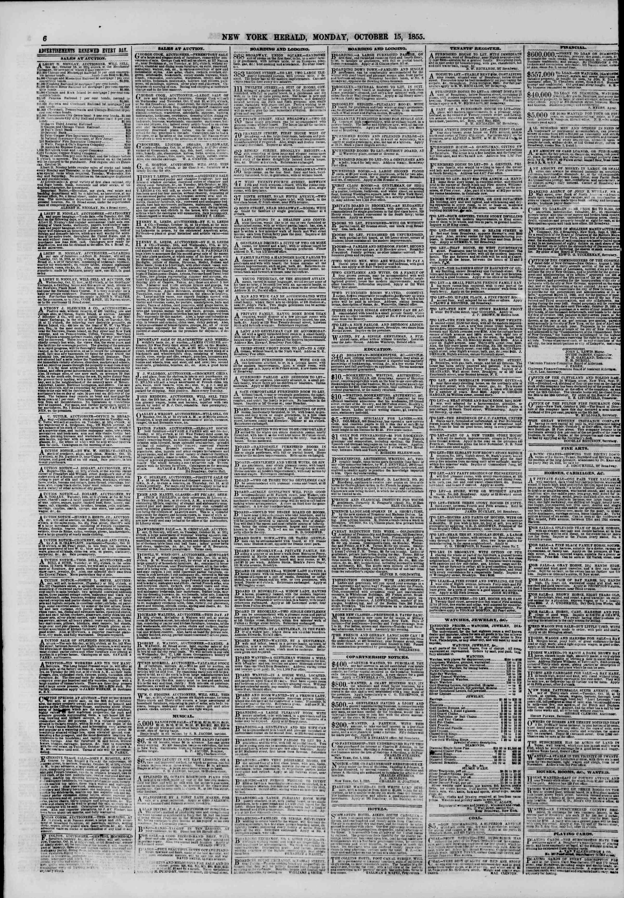 Newspaper of The New York Herald dated October 15, 1855 Page 6