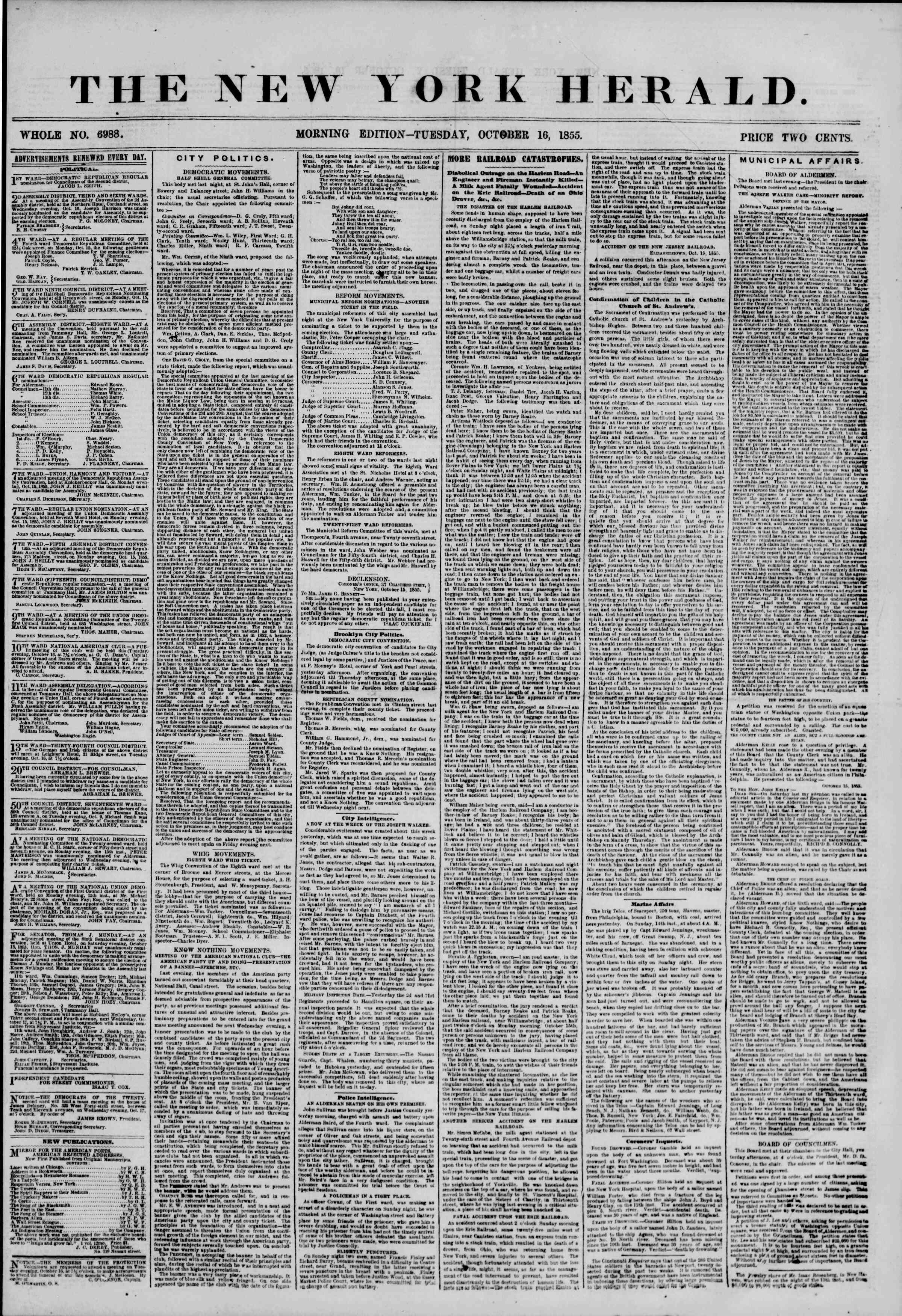 Newspaper of The New York Herald dated October 16, 1855 Page 1