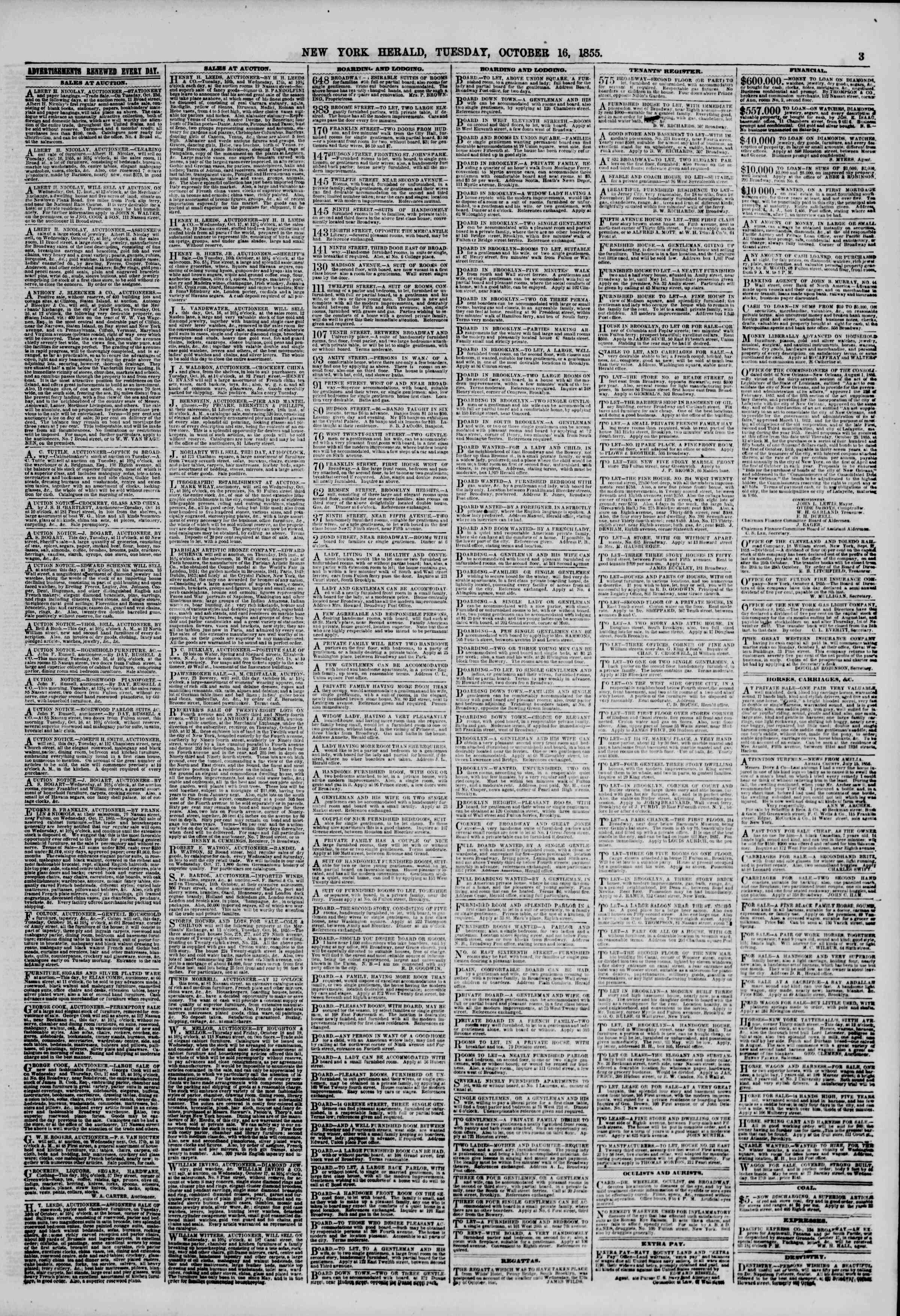 Newspaper of The New York Herald dated October 16, 1855 Page 3