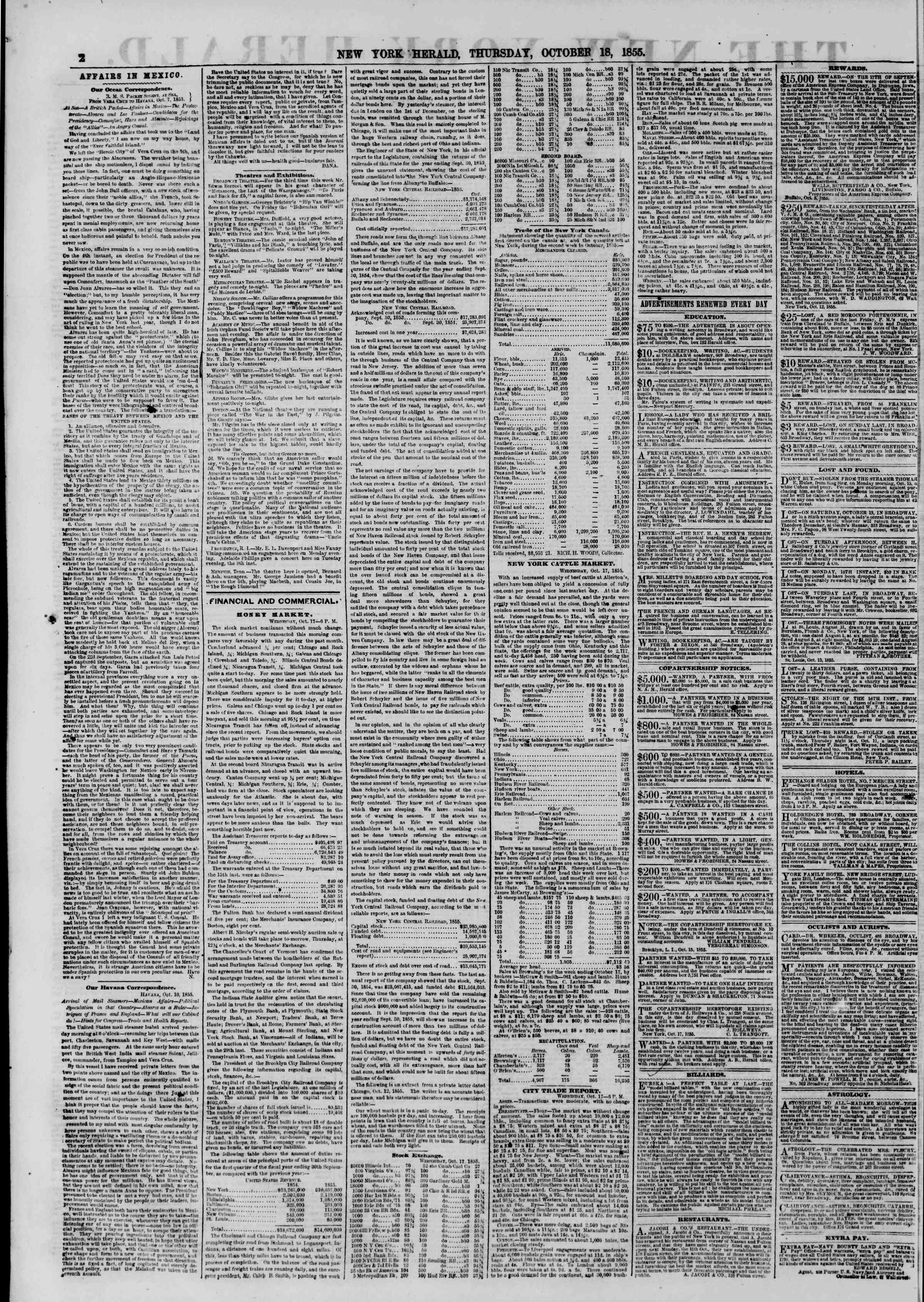 Newspaper of The New York Herald dated October 18, 1855 Page 2