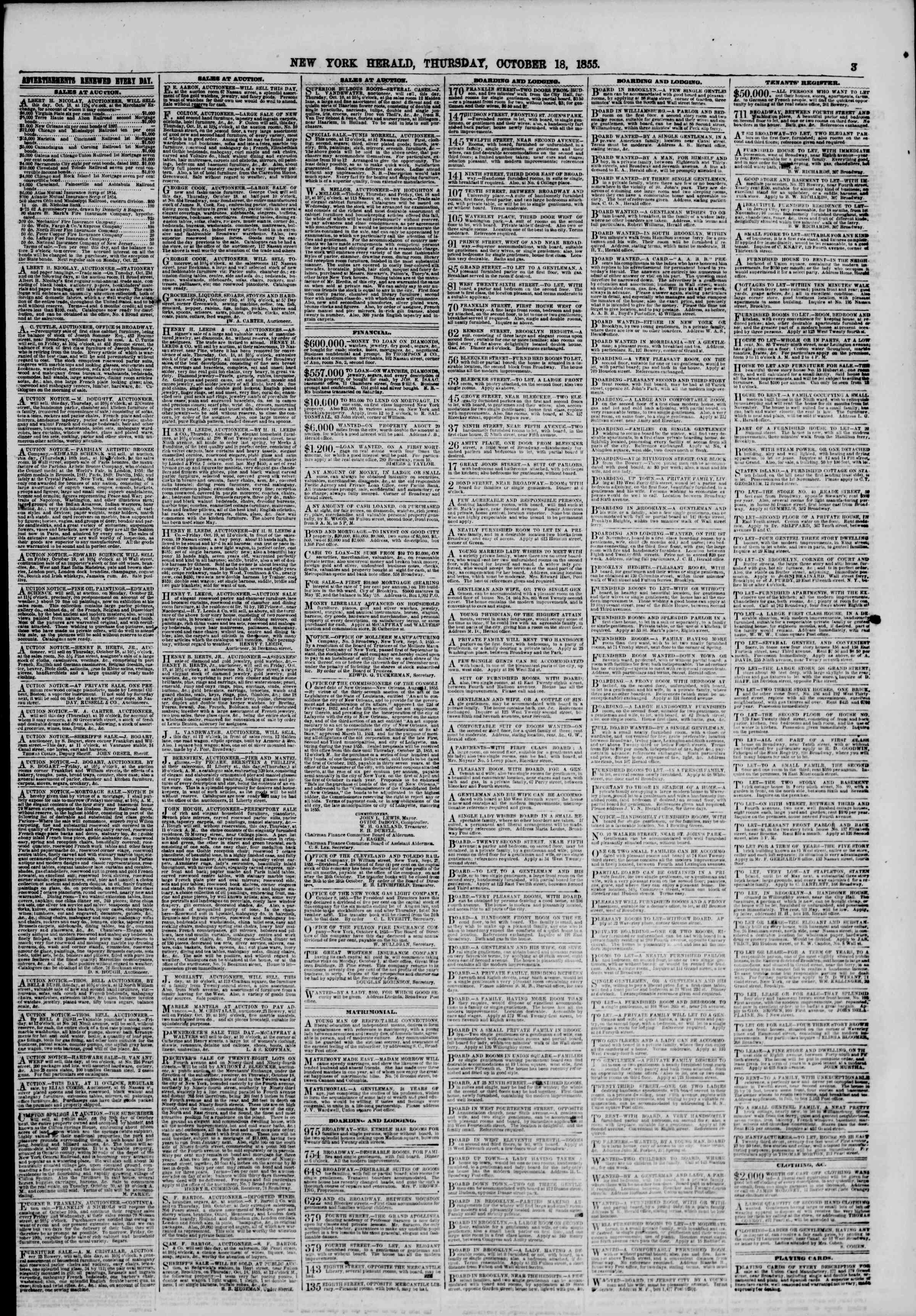 Newspaper of The New York Herald dated October 18, 1855 Page 3