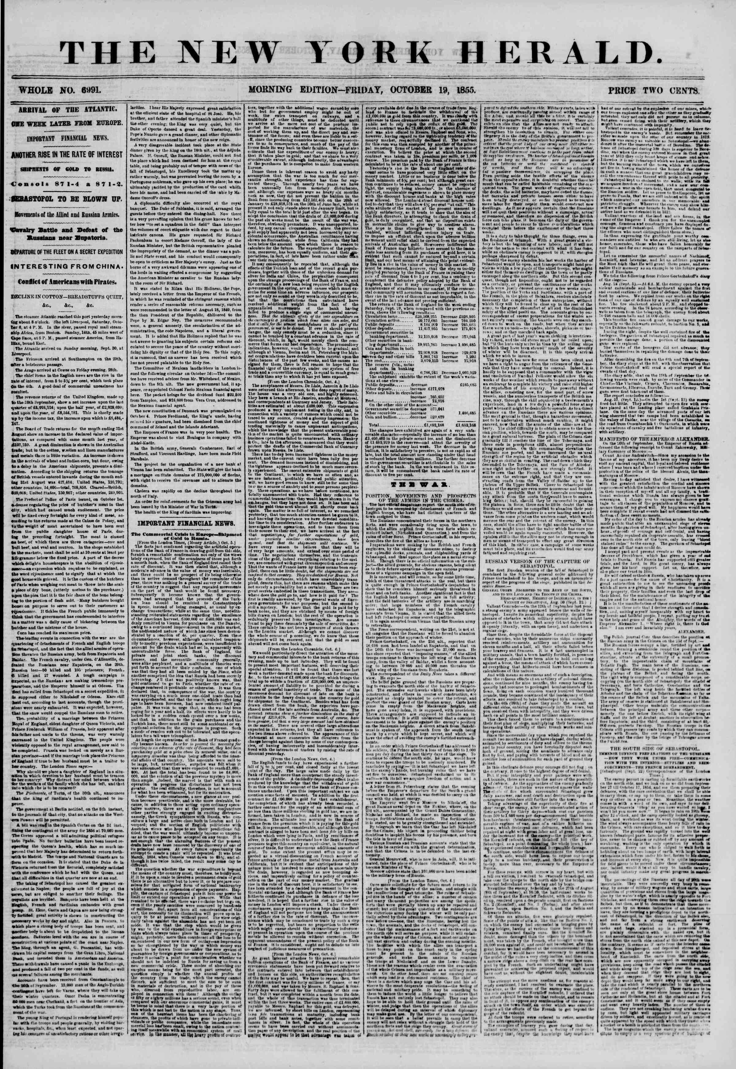 Newspaper of The New York Herald dated October 19, 1855 Page 1