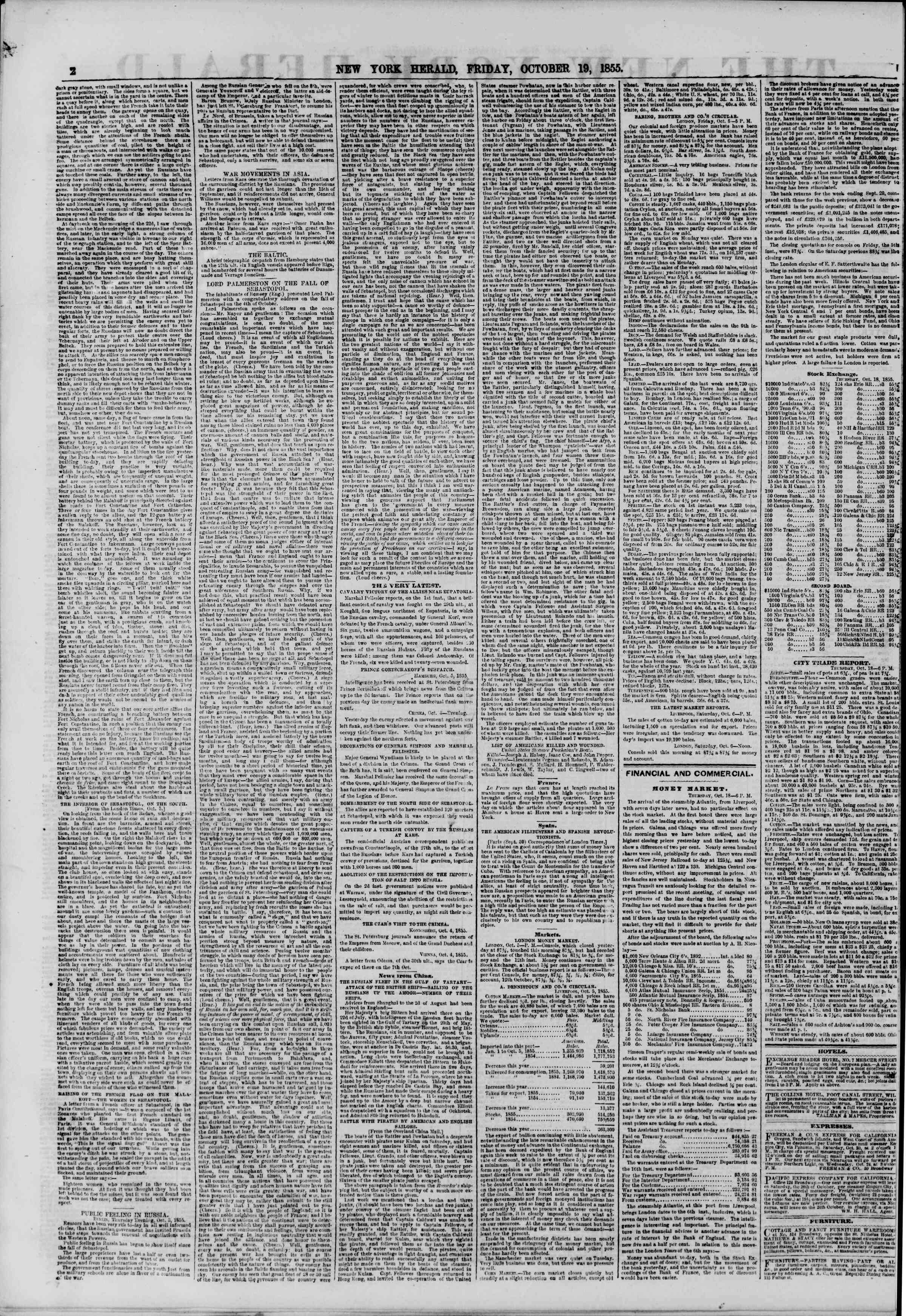 Newspaper of The New York Herald dated October 19, 1855 Page 2