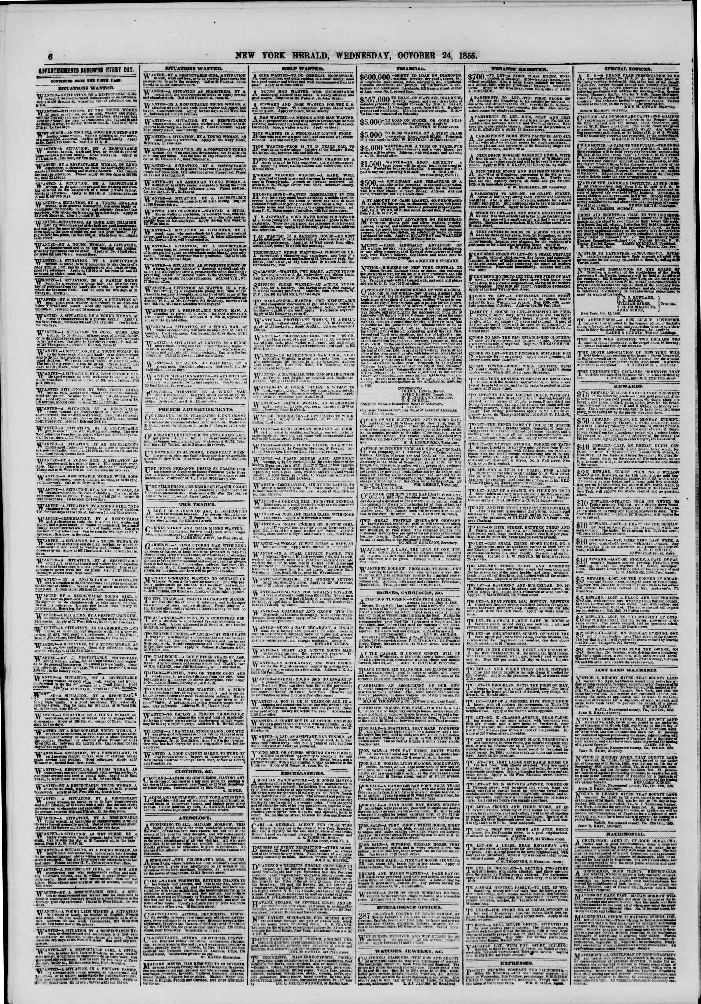 Newspaper of The New York Herald dated October 24, 1855 Page 6