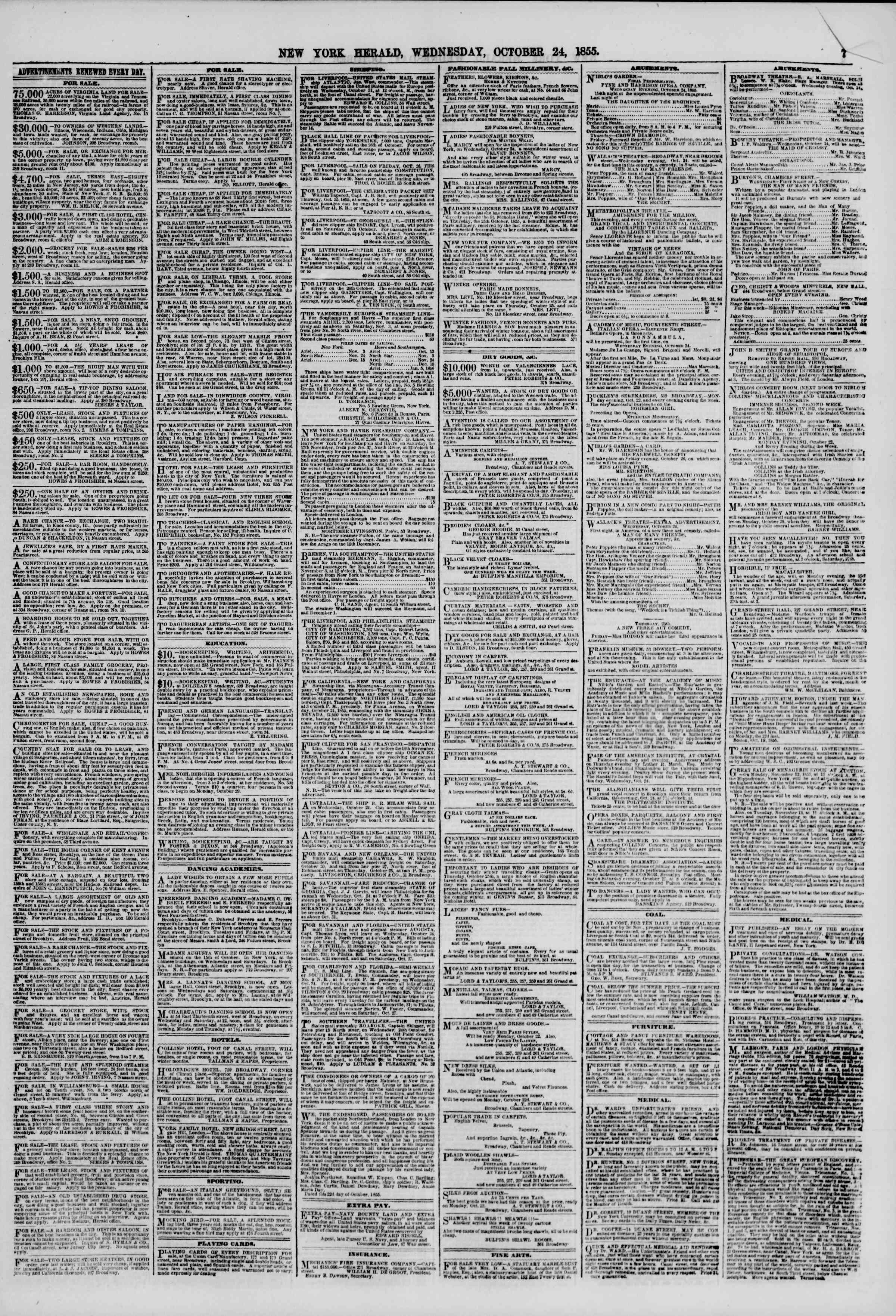 Newspaper of The New York Herald dated October 24, 1855 Page 7