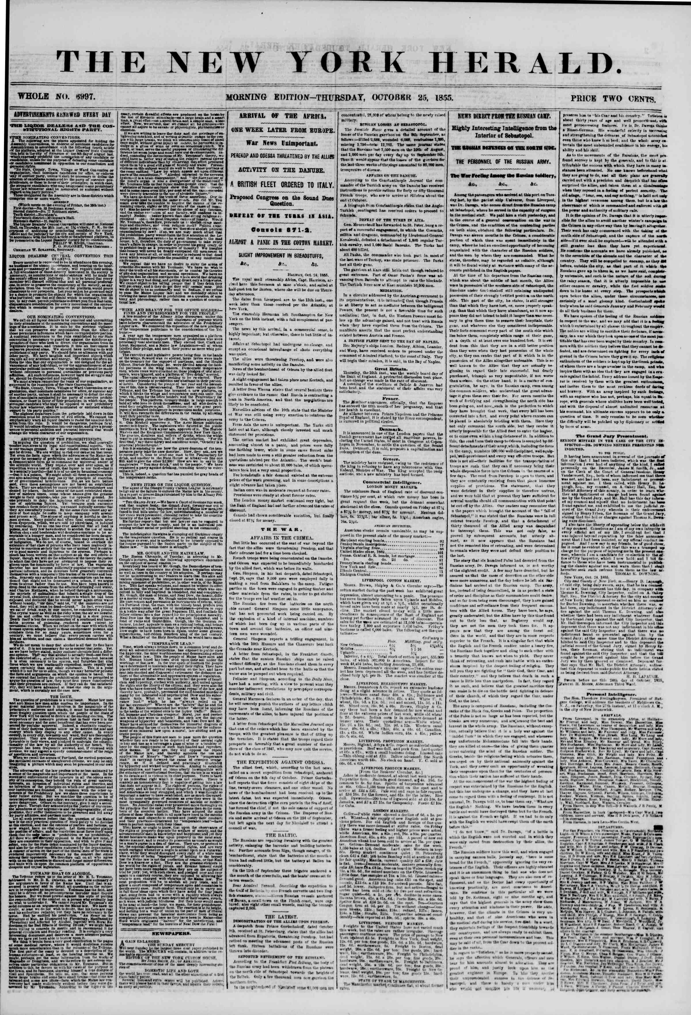 Newspaper of The New York Herald dated October 25, 1855 Page 1