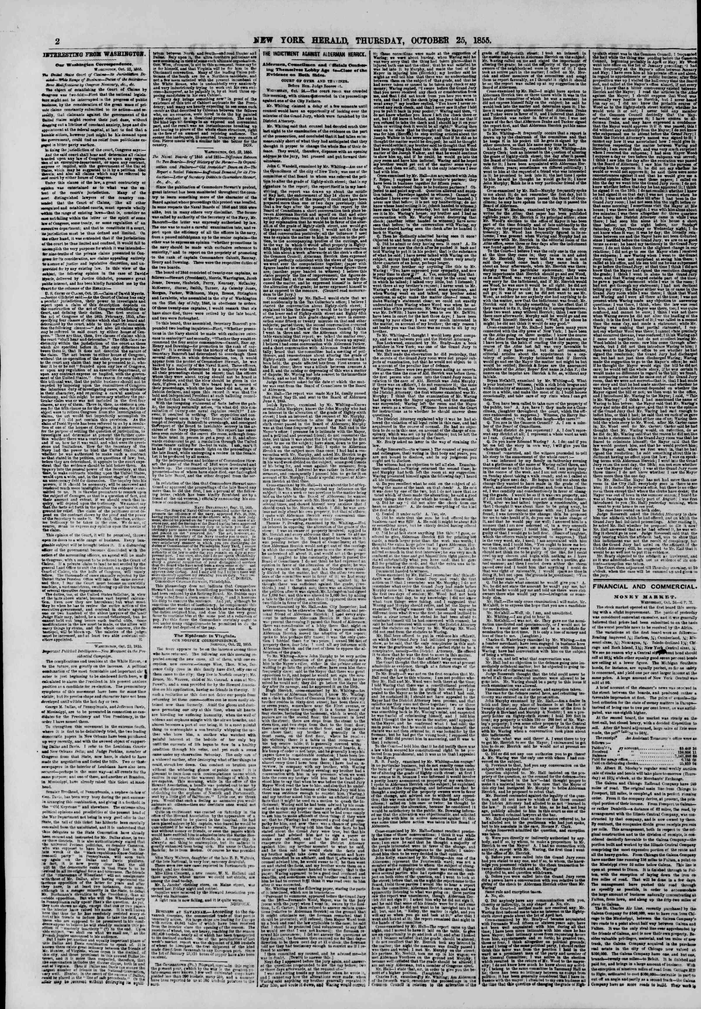 Newspaper of The New York Herald dated October 25, 1855 Page 2