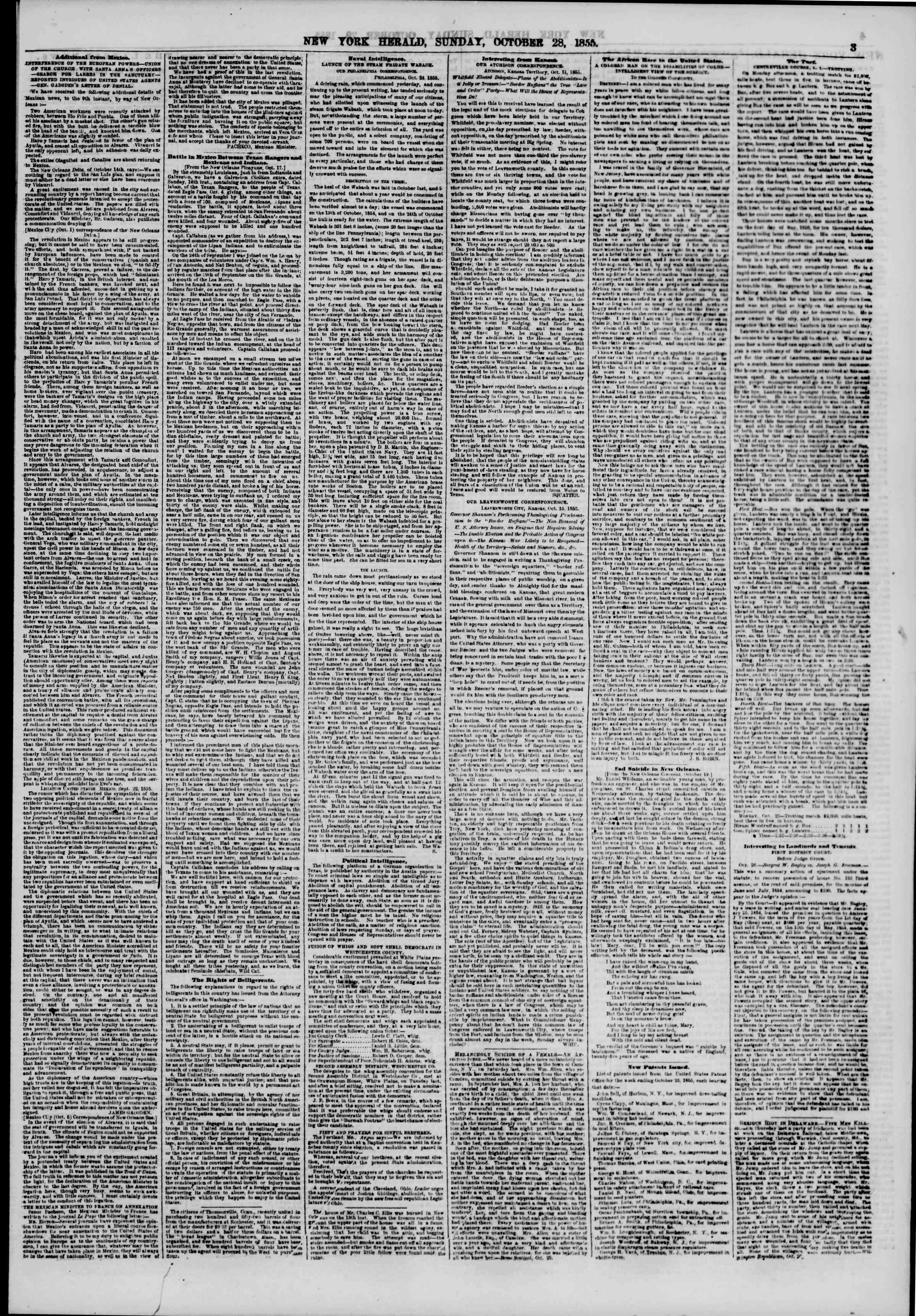 Newspaper of The New York Herald dated October 28, 1855 Page 3
