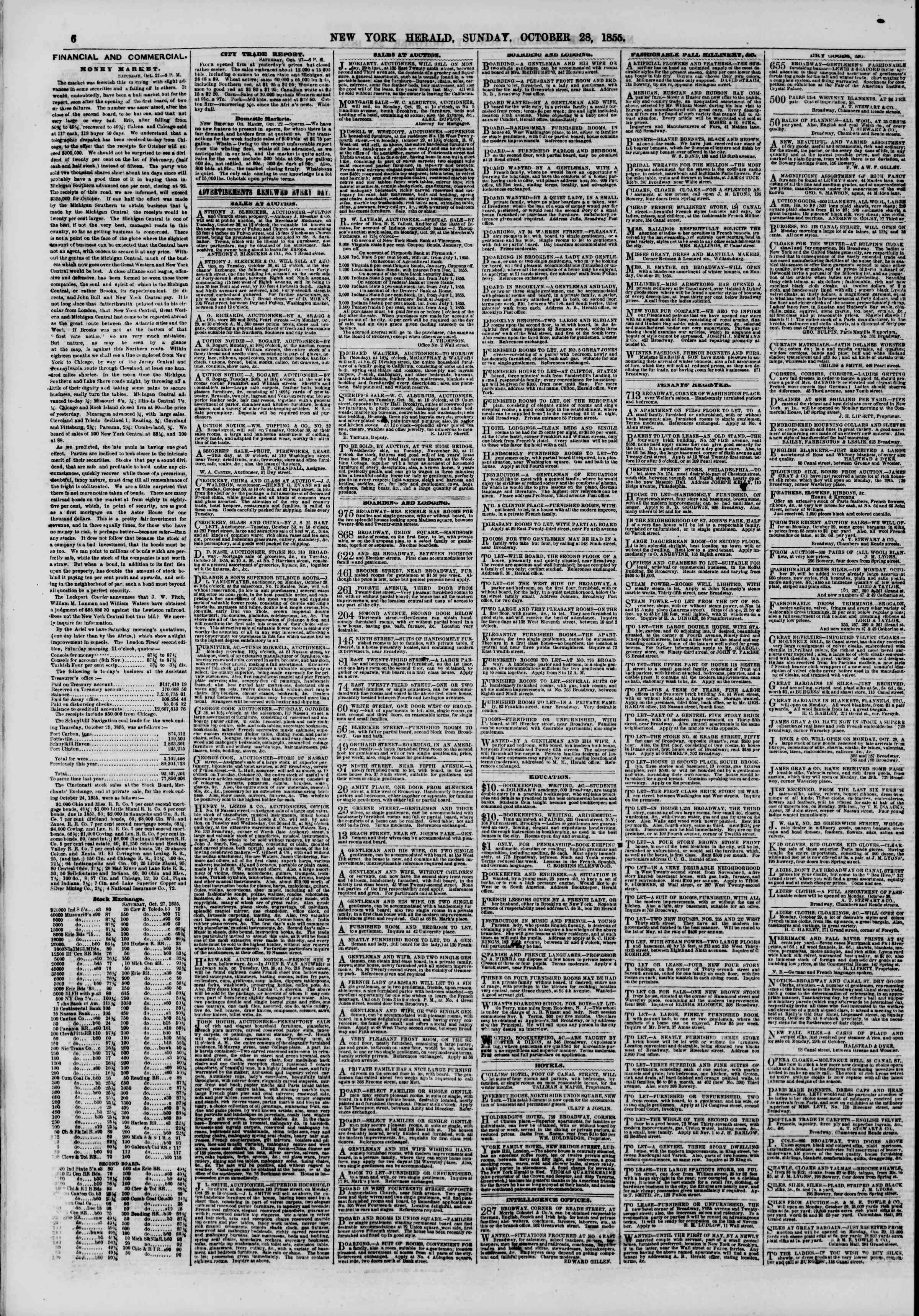 Newspaper of The New York Herald dated October 28, 1855 Page 6