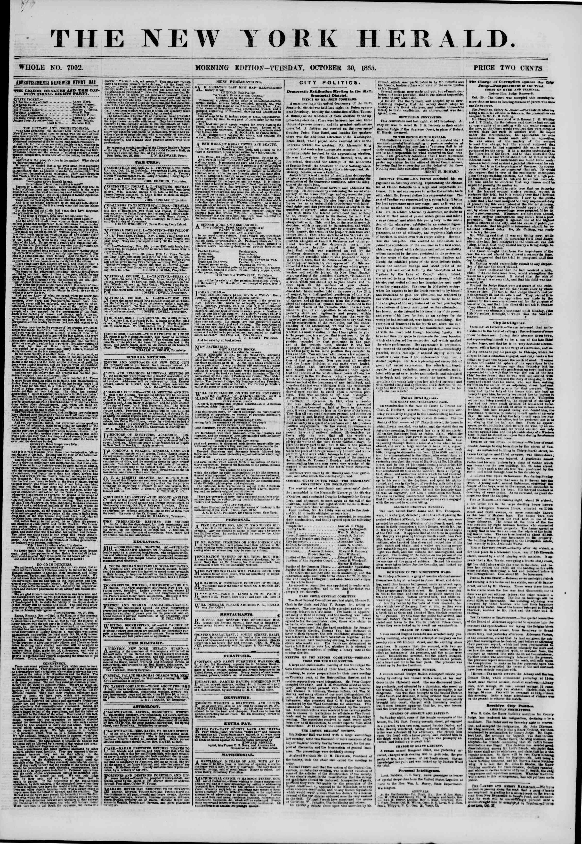 Newspaper of The New York Herald dated October 30, 1855 Page 1