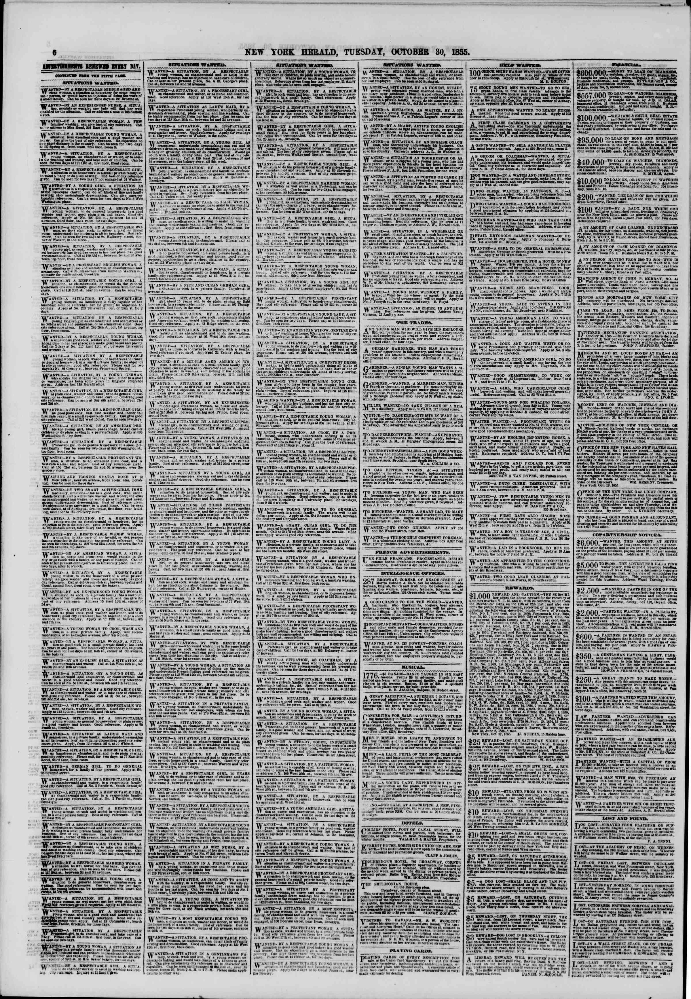 Newspaper of The New York Herald dated October 30, 1855 Page 6