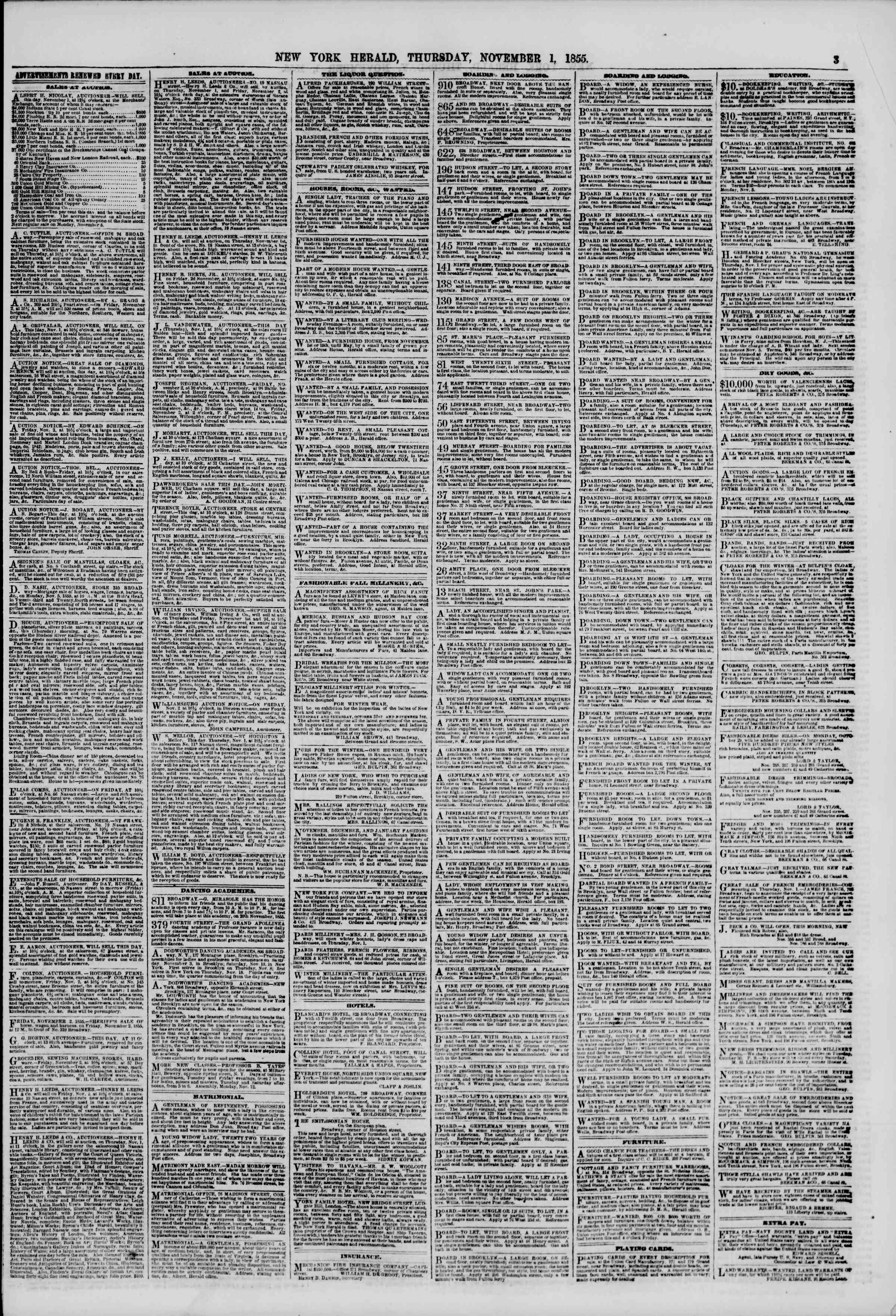 Newspaper of The New York Herald dated November 1, 1855 Page 3